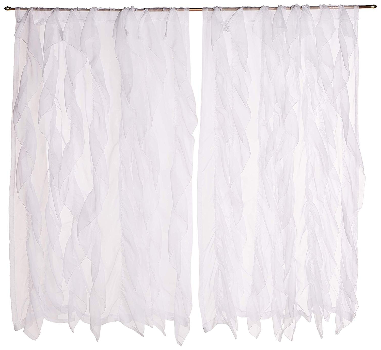 "Most Popular Chic Sheer Voile Vertical Ruffled Window Curtain Tiers Regarding Sweet Home Collection Sheer Voile Vertical Ruffled Window Curtain Panel 50"" X 63"", 63"" X 50"", White, 2 Piece (View 17 of 20)"