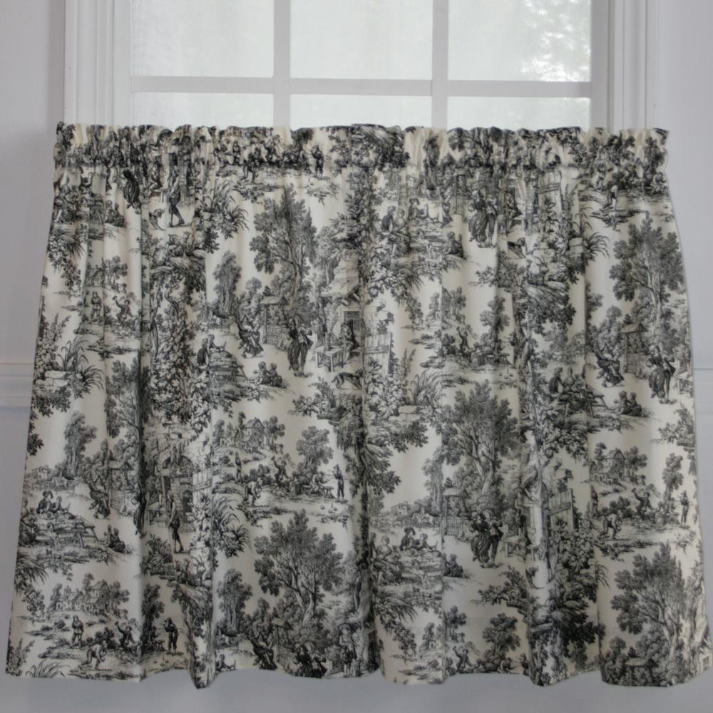 Most Popular Classic Black And White Curtain Tiers Within Victoria Park 68 In. W X 24 In (View 19 of 20)