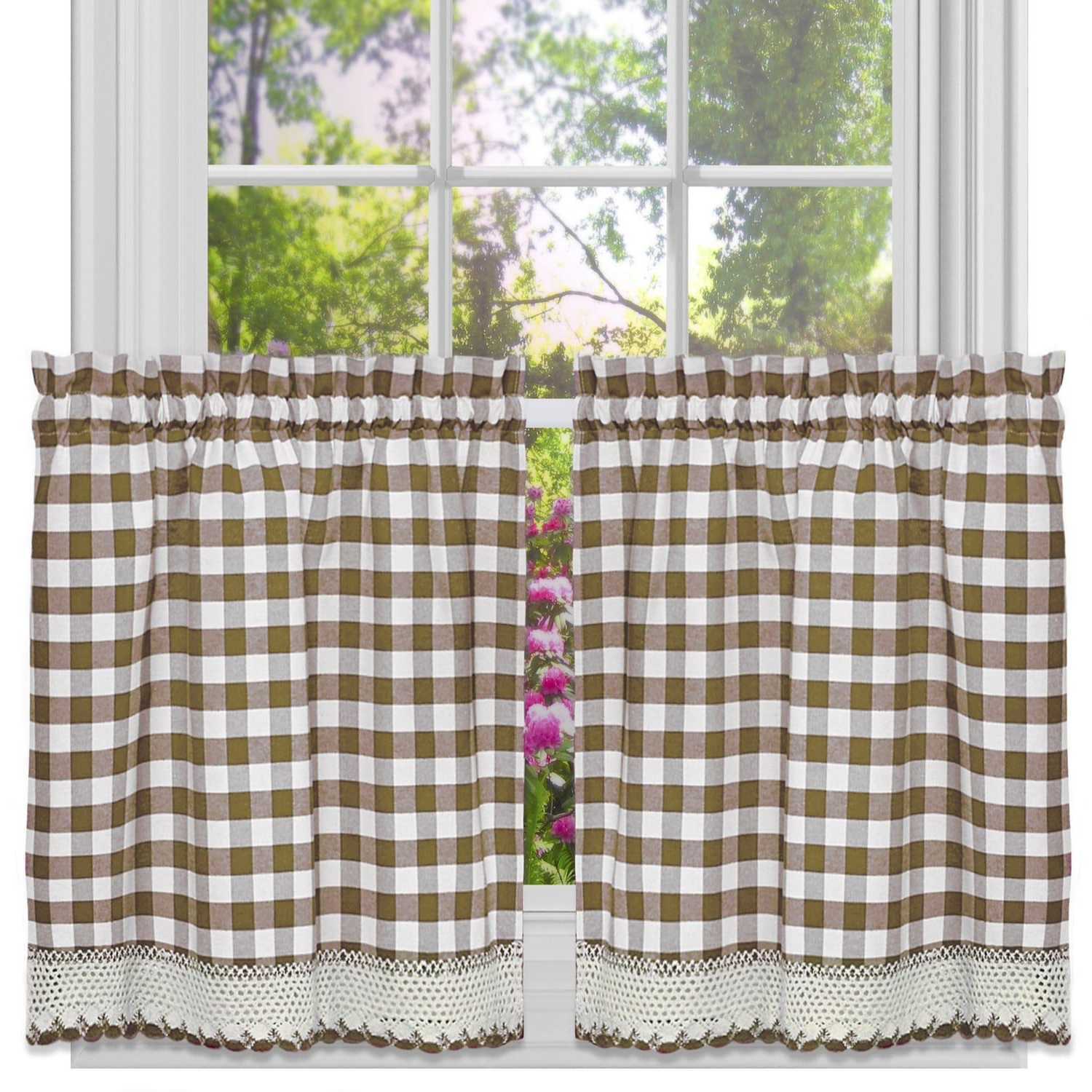 Most Popular Classic Kitchen Curtain Sets Inside Classic Buffalo Check Kitchen Curtains (Tier Pair 24X58 (Gallery 2 of 20)