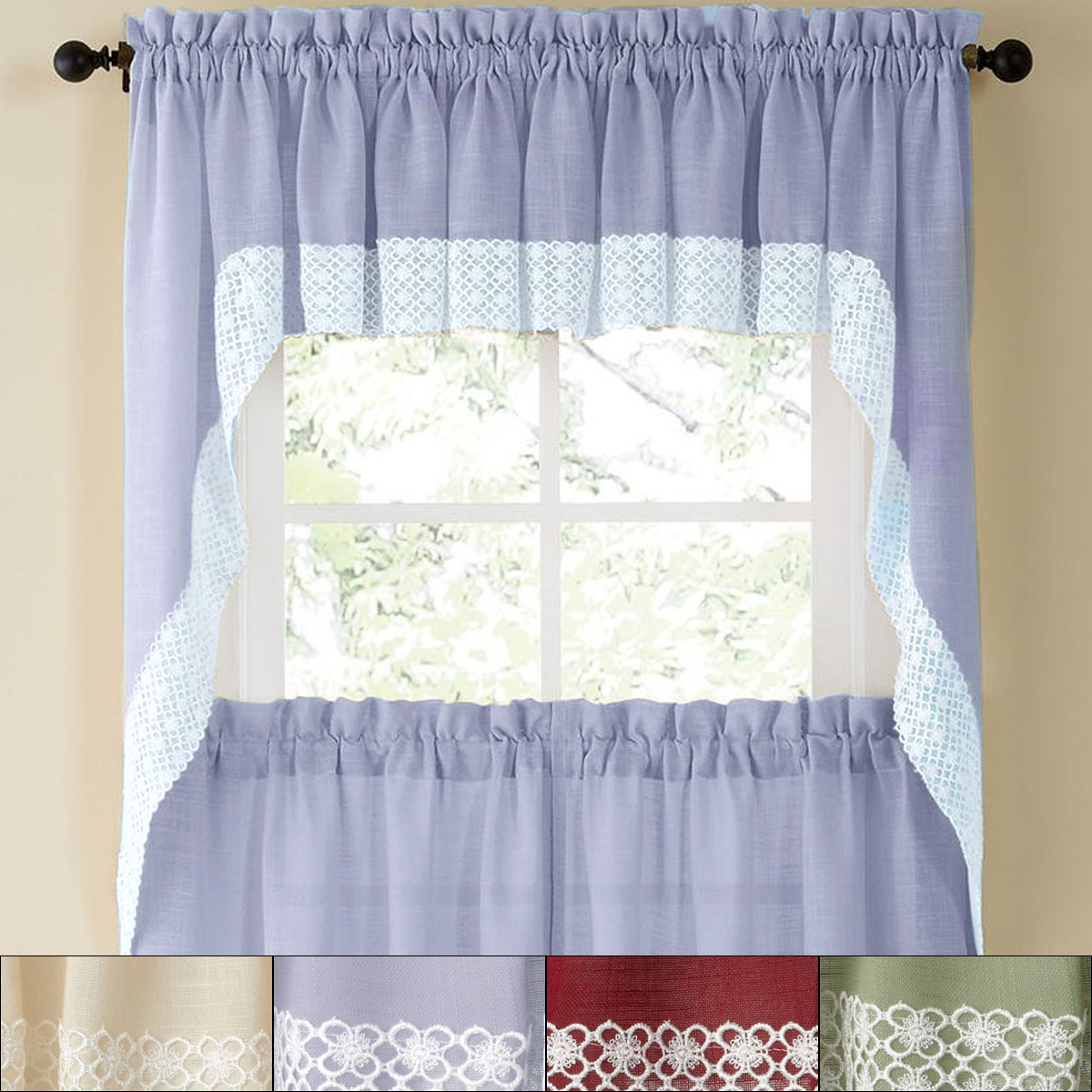 "Most Popular Cotton Lace 5 Piece Window Tier And Swag Sets Pertaining To Details About Salem Kitchen Window Curtain W/ Lace Trim – 38"" Swag Pair (View 10 of 20)"