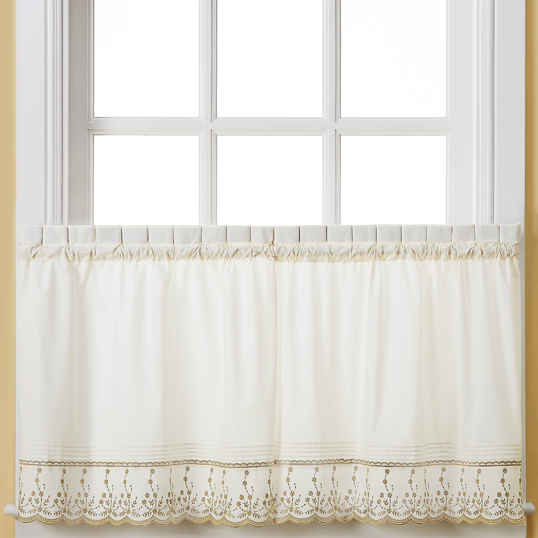Most Popular Details About Ophelia & Co. Toph Taupe Cafe Curtain Pertaining To Spring Daisy Tiered Curtain 3 Piece Sets (Gallery 18 of 20)