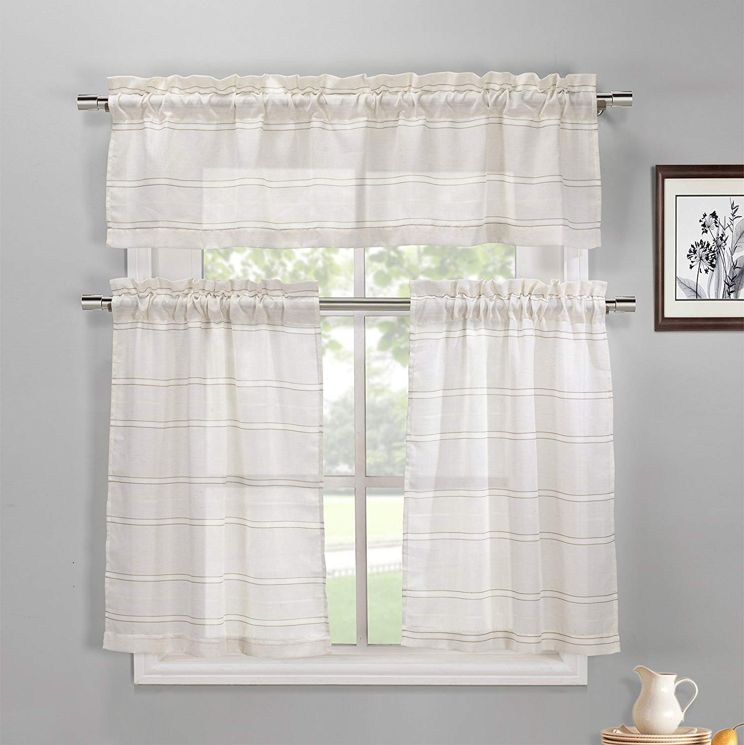 Most Popular Duck River Textile Maui Striped Kitchen 3 Piece Window Curtain Tier & Valance Set, 2 30 X 36 & One 60 X 16, Coffee For Window Curtain Tier And Valance Sets (View 17 of 20)