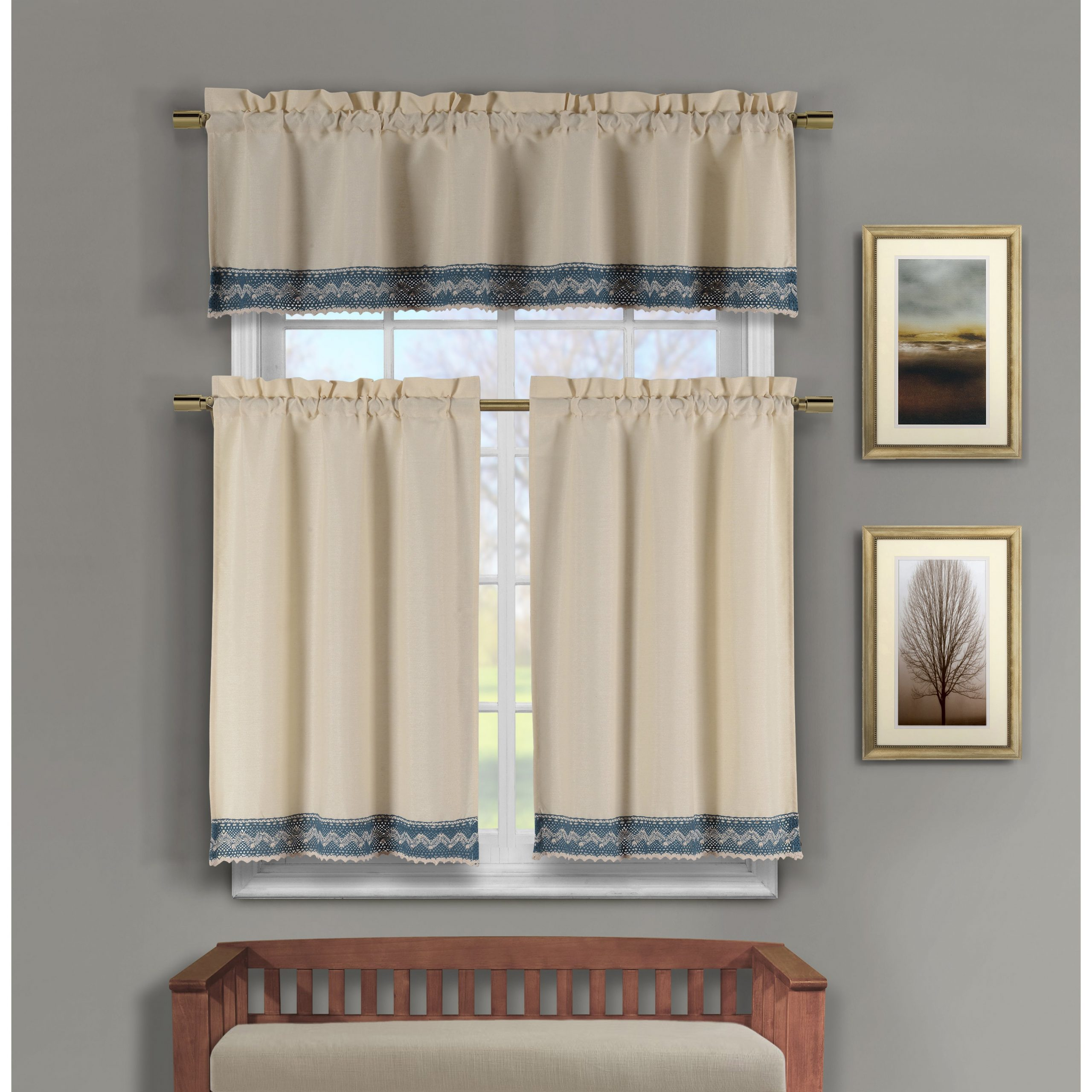 Most Popular Duck River Zoey Cotton Crochet 3 Piece Kitchen Curtain Tier Intended For Cotton Classic Toast Window Pane Pattern And Crotchet Trim Tiers (Gallery 8 of 20)