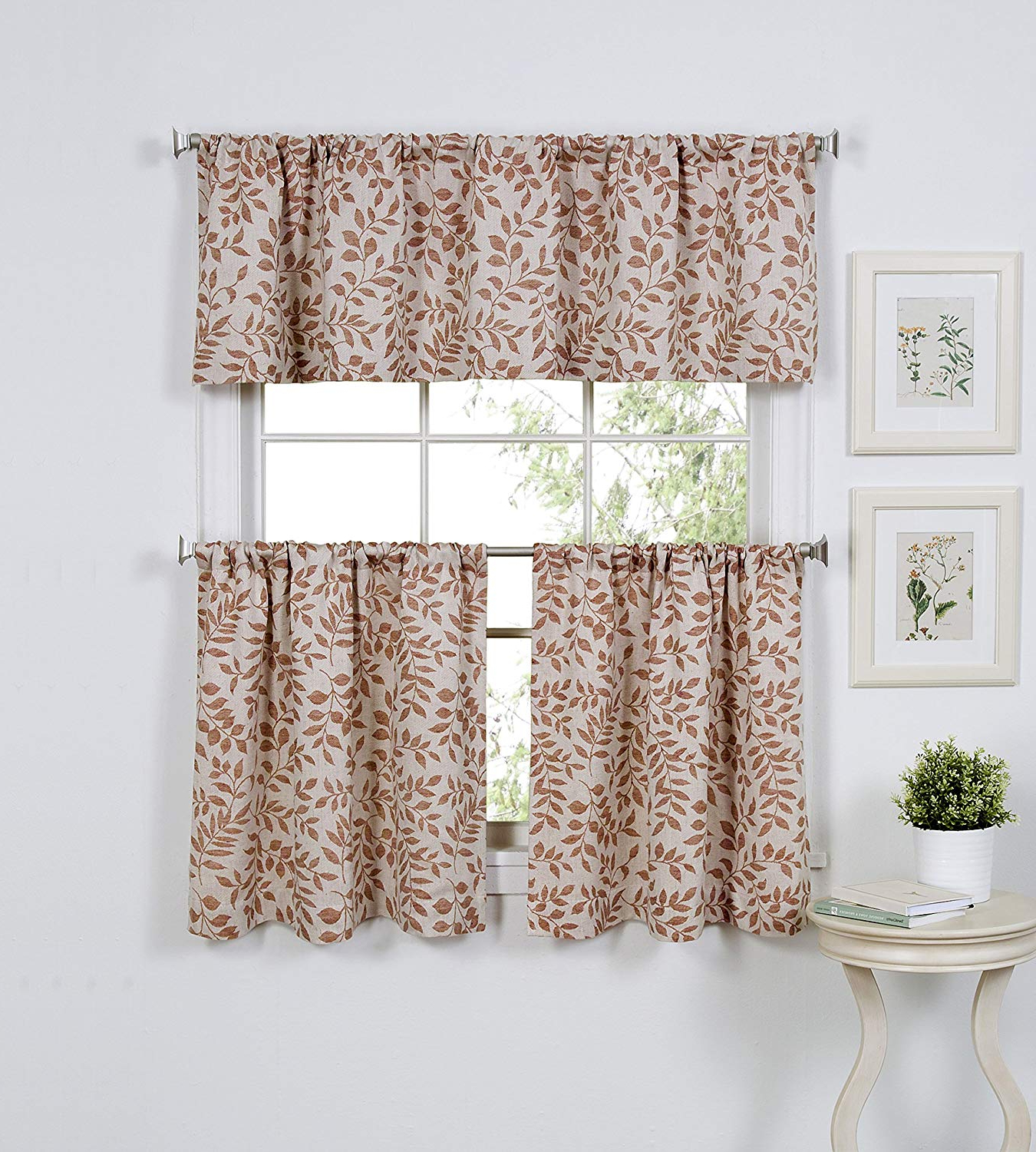 "Most Popular Elrene Home Fashions Serene Window Tier, 30""x24"" (Set Of 2 60""x15"" (1  Valance), Spice Red Throughout Tree Branch Valance And Tiers Sets (Gallery 5 of 20)"