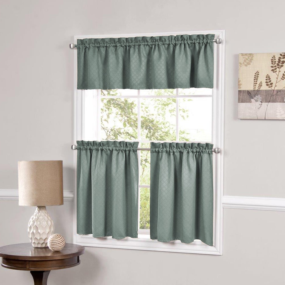 Most Popular Facets Blackout Insulated Kitchen Curtain Parts Tiers And Valances (assorted Colors) Throughout Glasgow Curtain Tier Sets (View 9 of 20)