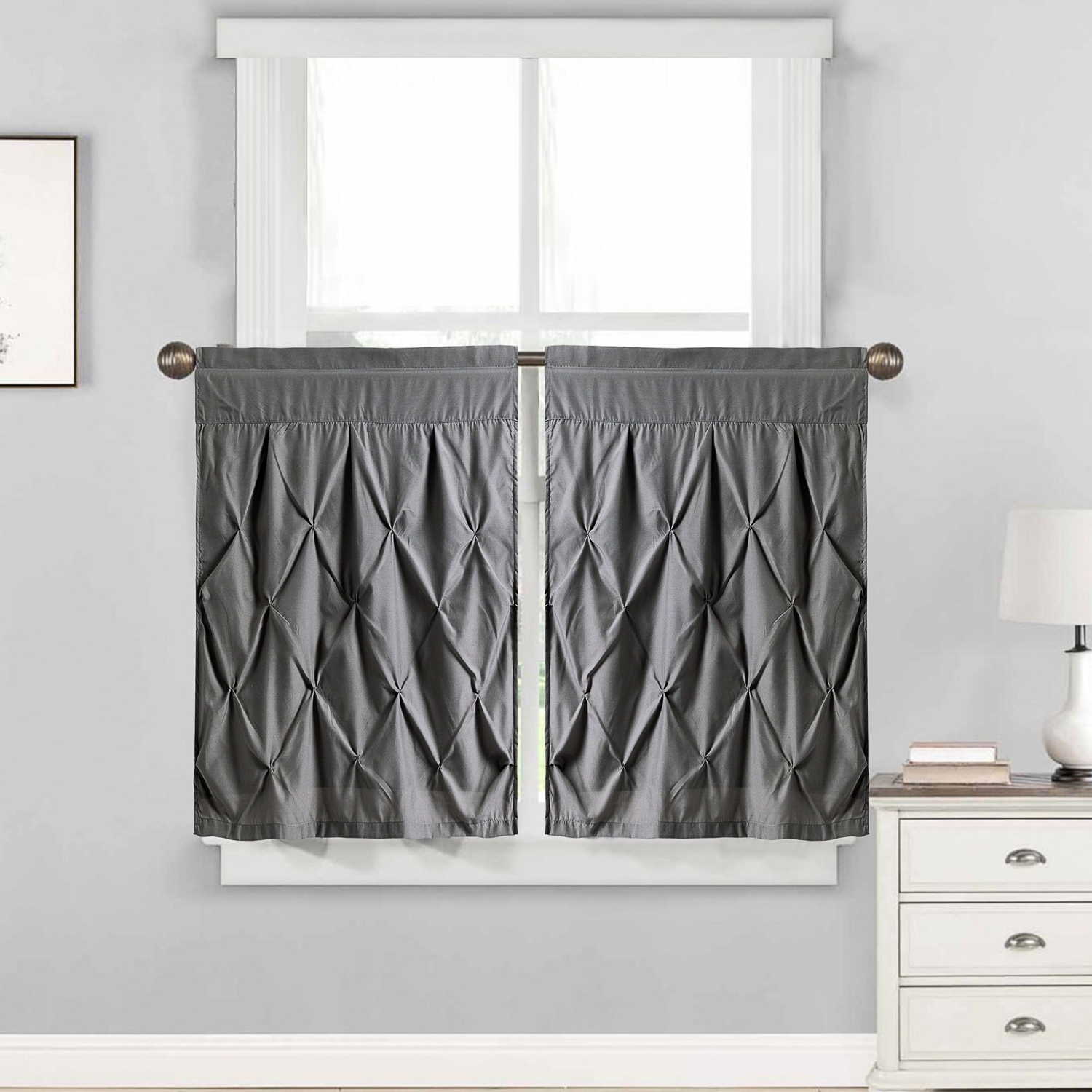 "Most Popular Hudson Pintuck Window Curtain Tier Pair (24""x30"") Grey – 24 With Regard To Vertical Ruffled Waterfall Valance And Curtain Tiers (Gallery 17 of 20)"