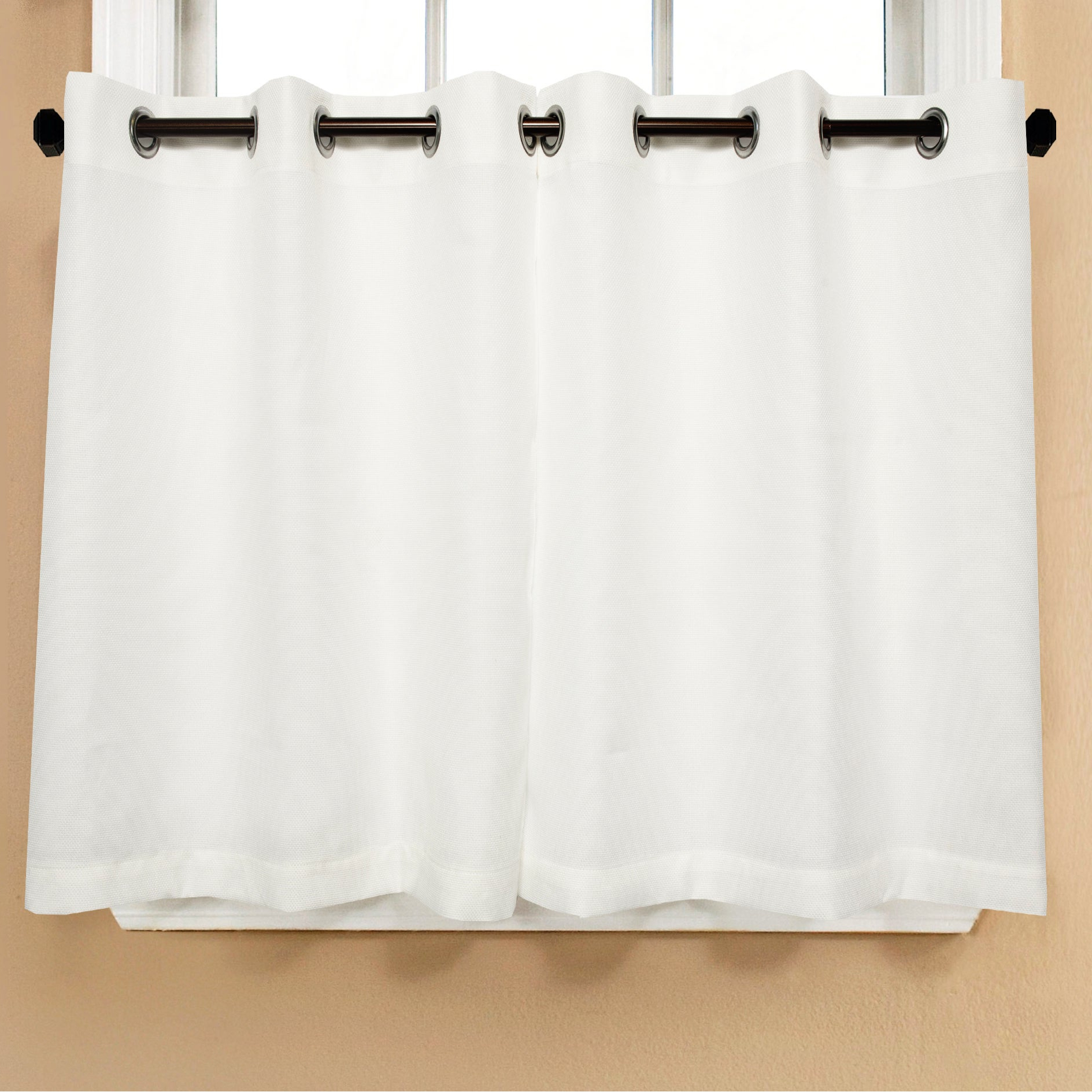 Most Popular Modern Subtle Texture Solid White Kitchen Curtain Parts With Grommets Tier And Valance Options Regarding Modern Subtle Texture Solid White Kitchen Curtain Parts With Grommets  Tier  And Valance Options (Gallery 1 of 20)
