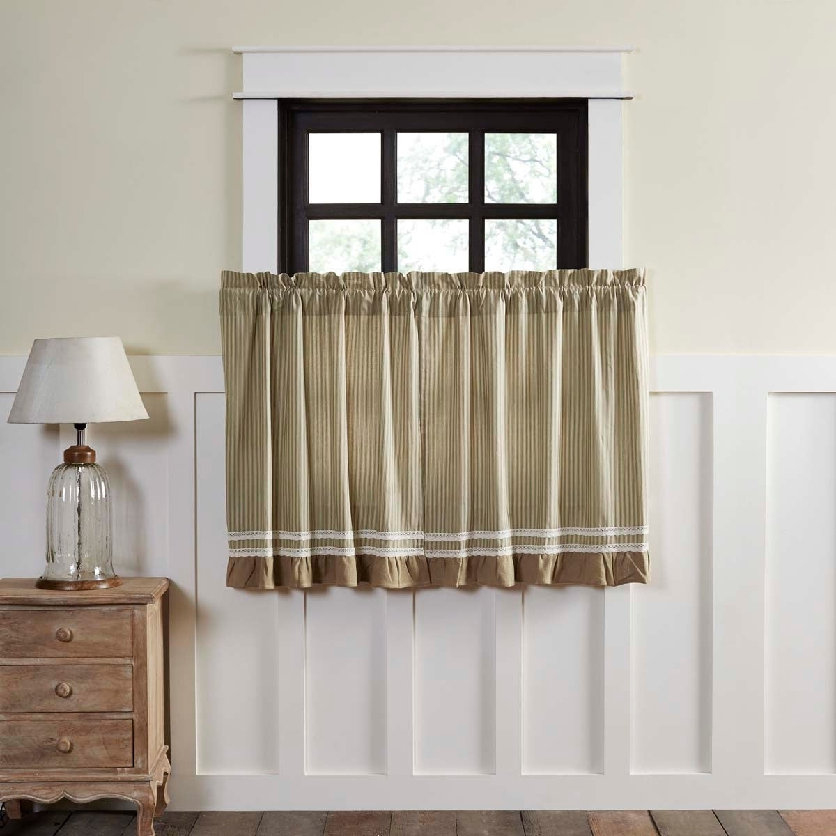 Featured Photo of Rod Pocket Cotton Striped Lace Cotton Burlap Kitchen Curtains