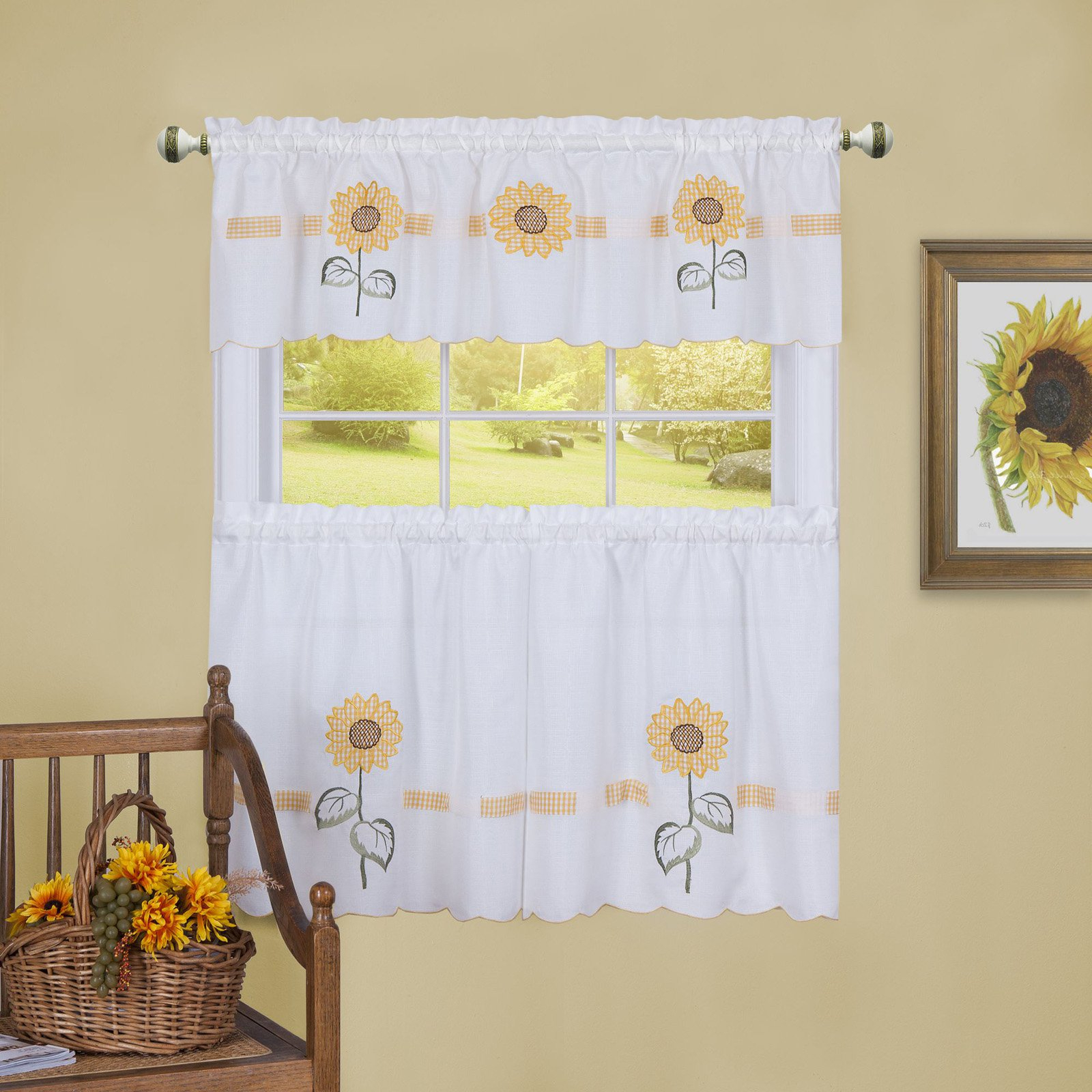 Most Popular Traditional Tailored Window Curtains With Embroidered Yellow Sunflowers Intended For Achim Sun Blossoms Embellished Tier And Valance Window (View 6 of 20)
