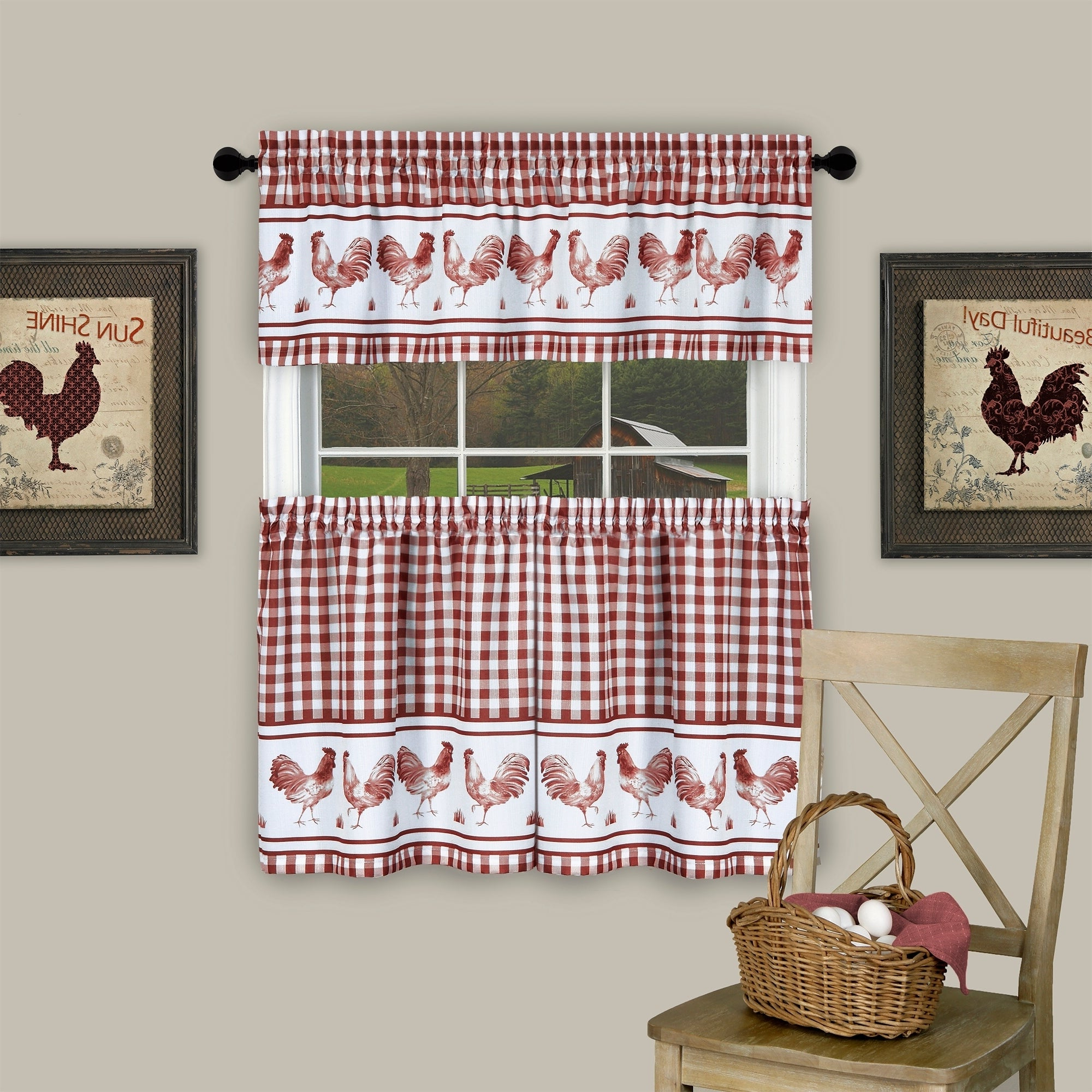 Most Popular Traditional Two Piece Tailored Tier And Swag Window Curtains Sets With Ornate Rooster Print Pertaining To Barnyard Window Curtain Tier Pair And Valance Set (Gallery 5 of 20)