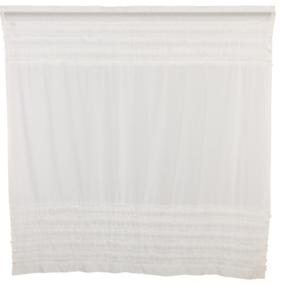 Most Popular White Ruffled Sheer Petticoat Tier Pairs Regarding White Farmhouse Bath Simplicity Cambric White Ruffled Sheer Petticoat Rod Pocket (View 7 of 20)