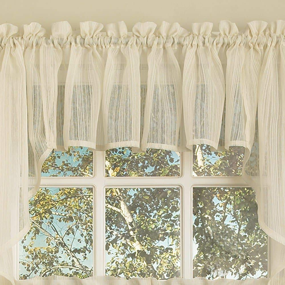 Most Popular White Tone On Tone Raised Microcheck Semisheer Window Curtain Pieces Intended For Amazon: Bed Bath N More Ivory Micro Striped Semi Sheer (View 7 of 20)