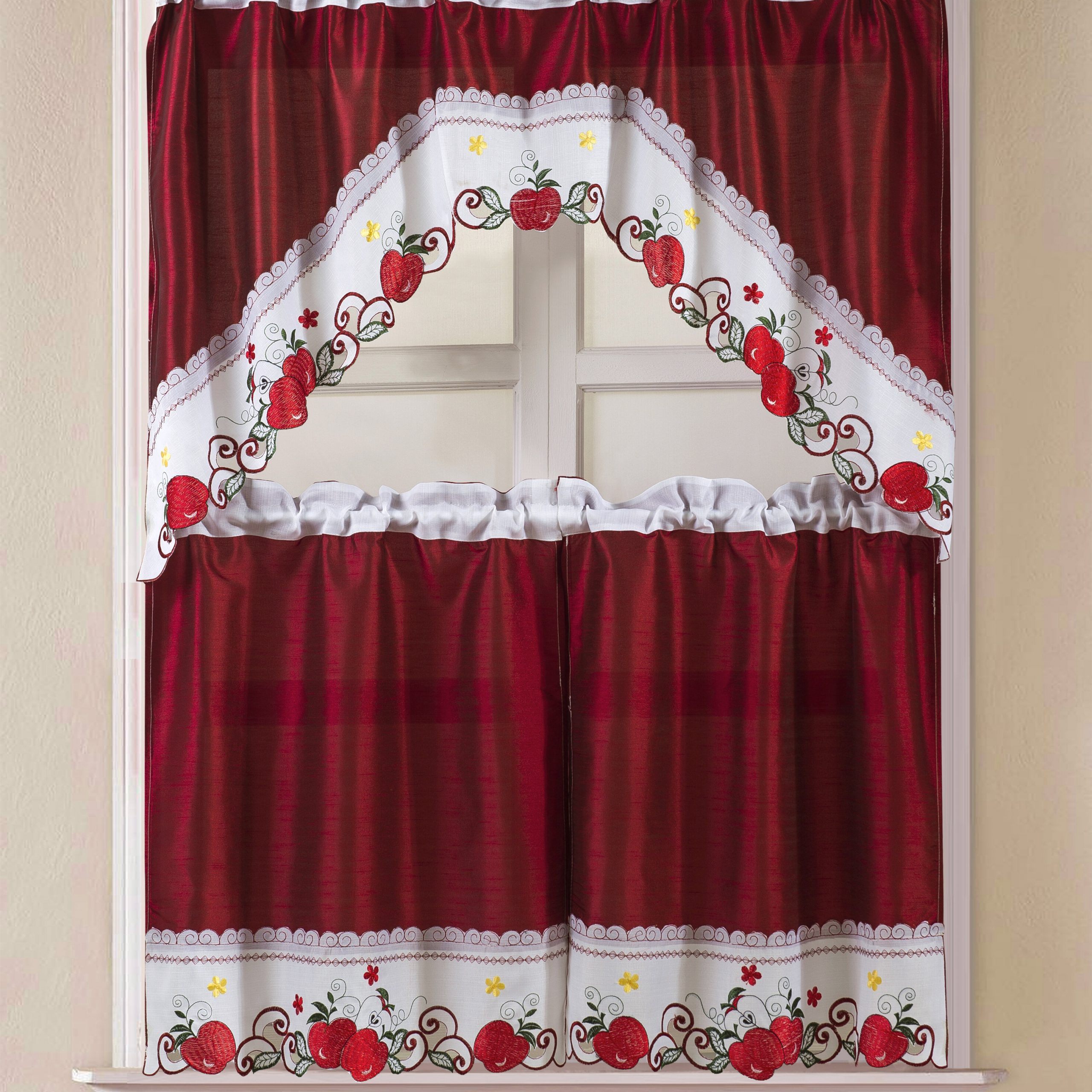 Most Popular Winston Porter Soltis Apple Kitchen Curtain Set & Reviews Regarding Chateau Wines Cottage Kitchen Curtain Tier And Valance Sets (View 11 of 20)
