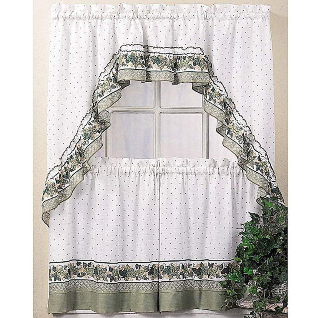 Most Recent Amazon: 3 Piece 36 Inch Green Color Cottage Ivy Tier For Cotton Blend Ivy Floral Tier Curtain And Swag Sets (Gallery 1 of 20)