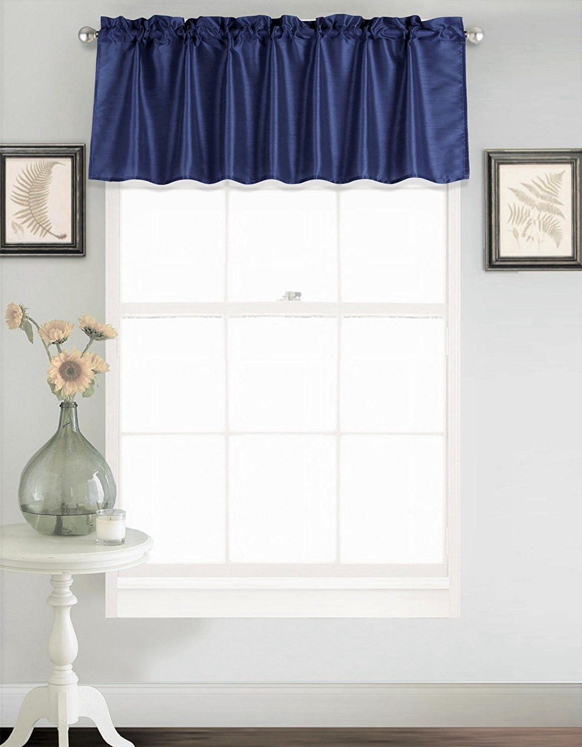 Most Recent Amazon: Gorgeoushomelinen (S18) 1 Elegant Straight Faux For Luxury Light Filtering Straight Curtain Valances (View 13 of 20)
