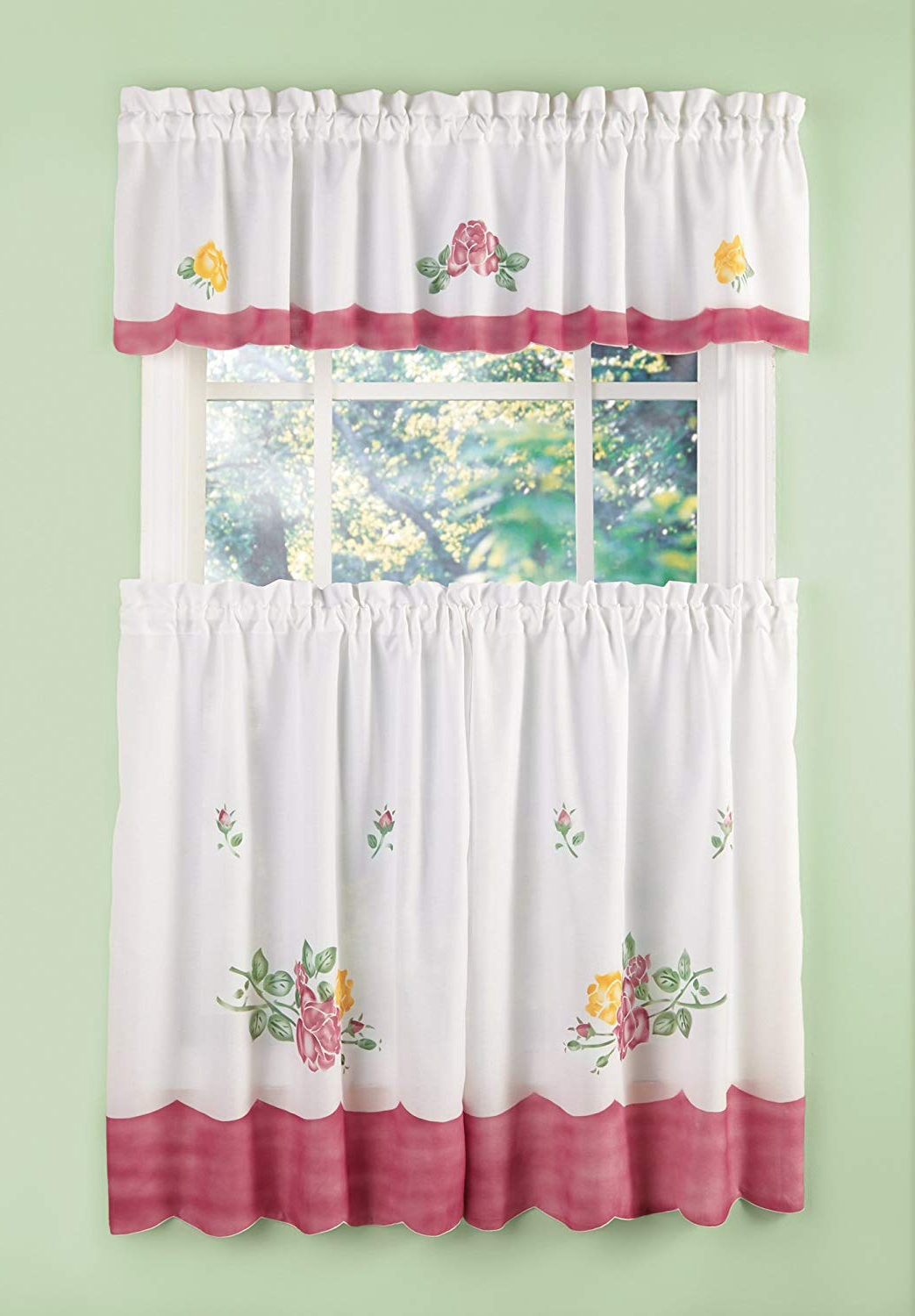 Most Recent Amazon: Kitchen Curtains – Cafe Curtain Set, 3 Piece Intended For Microfiber 3 Piece Kitchen Curtain Valance And Tiers Sets (Gallery 11 of 20)