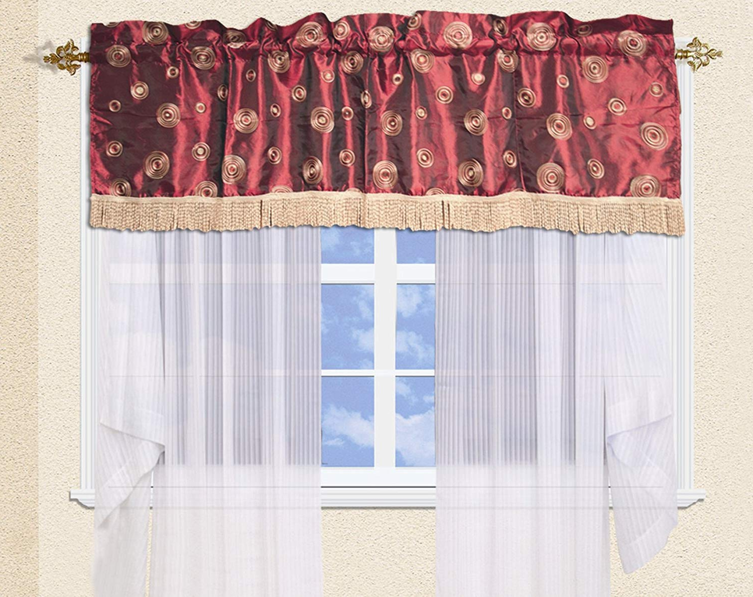 "Most Recent Amazon: Violet Linen Silky Circle Window Valance, 60"" X With Regard To Circle Curtain Valances (View 15 of 20)"