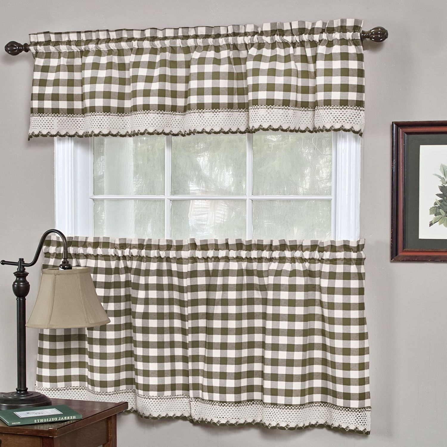 Most Recent Barnyard Buffalo Check Rooster Window Valances Inside Classic Buffalo Check Kitchen Curtains (24 Tier Pair, Taupe (Gallery 7 of 20)