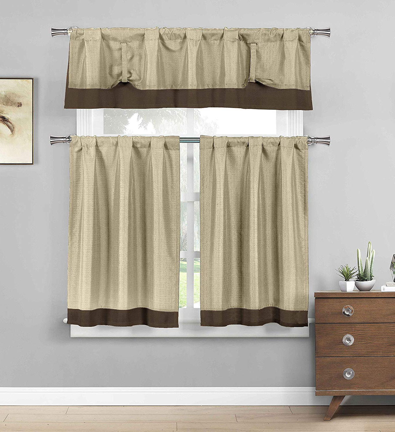 Most Recent Bathroom And More Three Piece Kitchen/cafe Tier Window Curtain Set:  Chocolate Brown Border Accent (Linen) With Regard To Solid Microfiber 3 Piece Kitchen Curtain Valance And Tiers Sets (View 10 of 20)