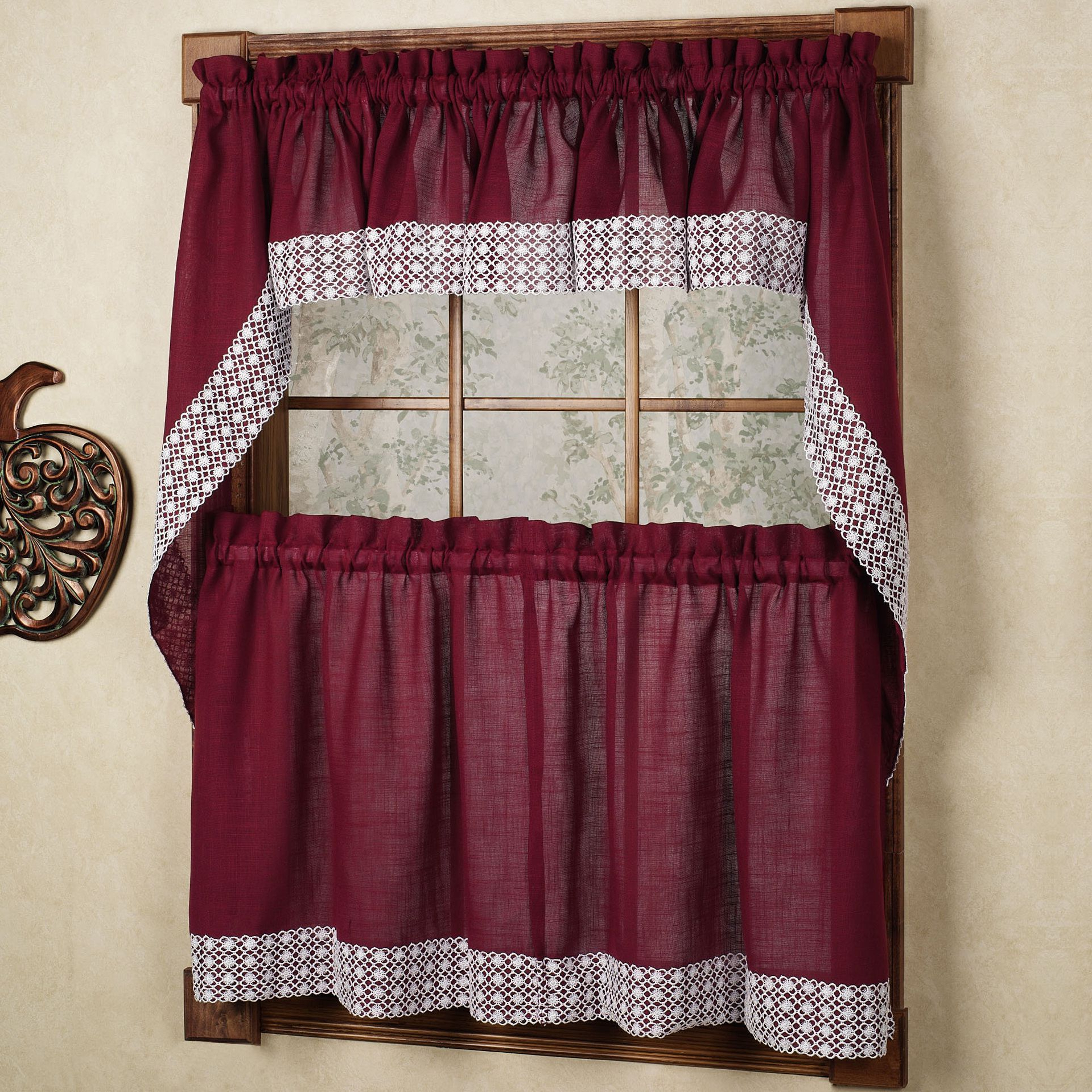 Most Recent Burgundy Country Style Curtain Parts With White Daisy Lace With Regard To Country Style Curtain Parts With White Daisy Lace Accent (Gallery 2 of 20)
