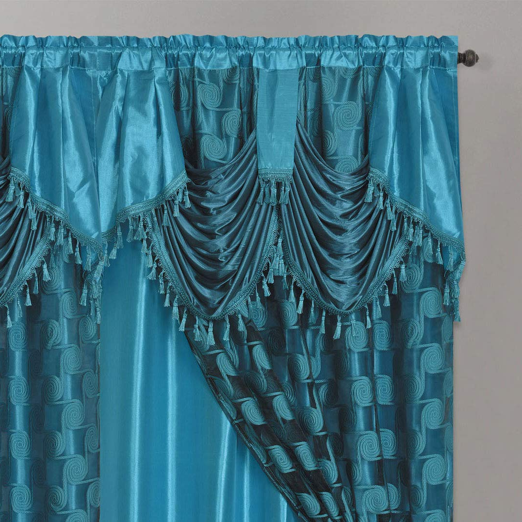 Most Recent Circle Cycle. Clipped Voile. Voile Jacquard Window Curtain Drape With  Attached Fancy Valance And Taffeta Backing. 2Pcs Set (View 16 of 20)