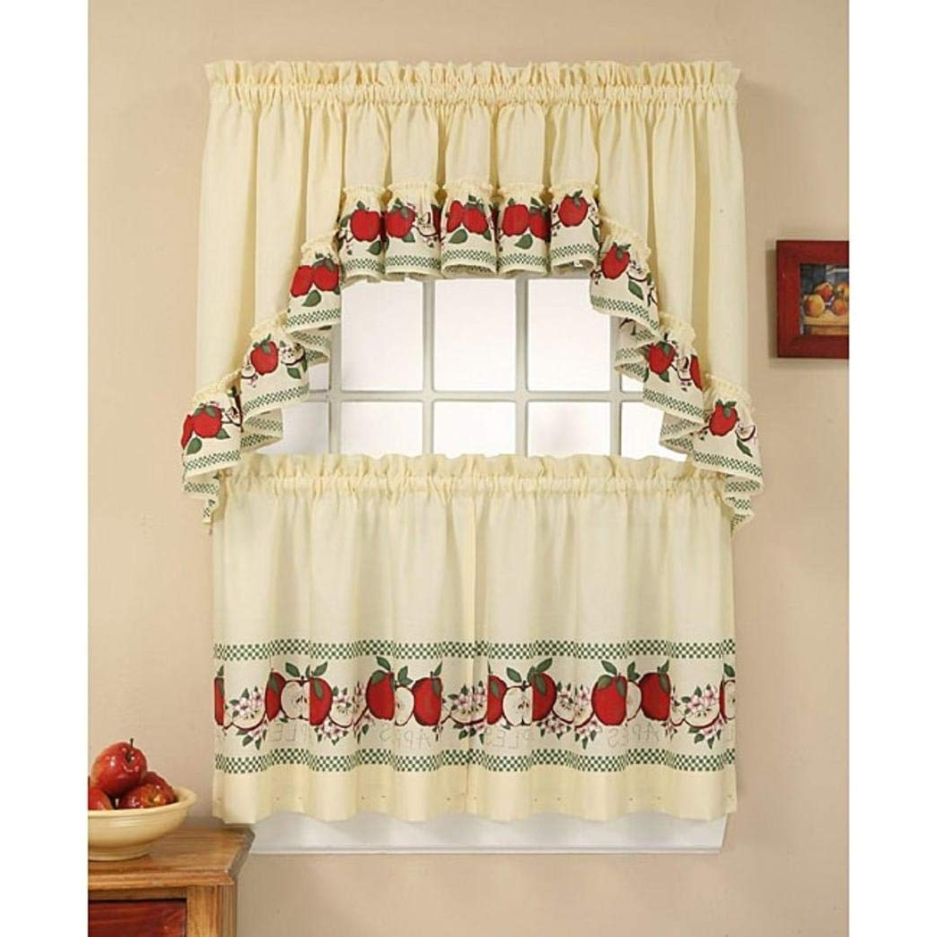 Most Recent Delicious Apples Kitchen Curtain Tier And Valance Sets Inside Amazon: 3 Piece 24 Inch Red Color Delicious Apple (Gallery 3 of 20)