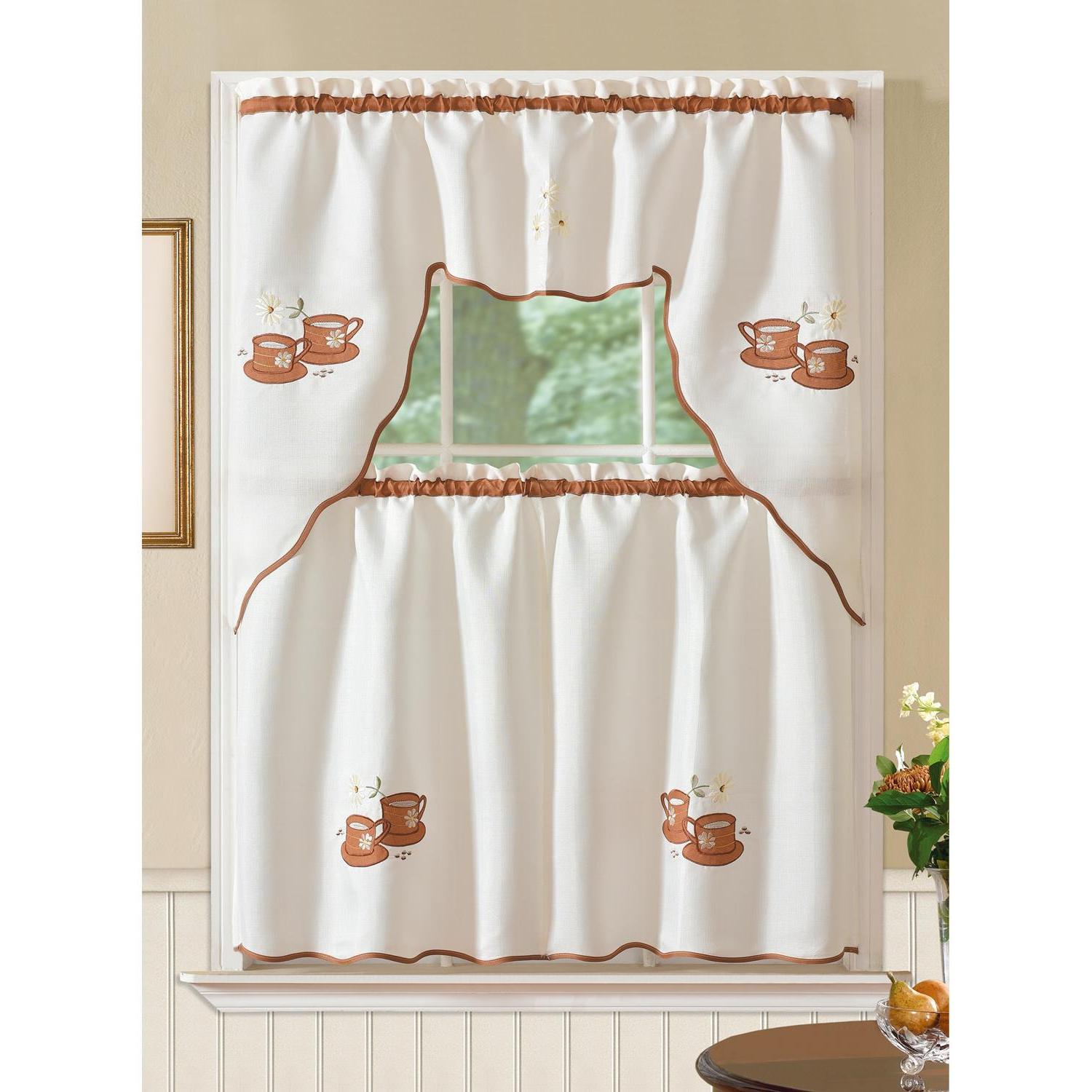 Most Recent Details About Imperial Coffee Jacquard Kitchen Curtain Set Intended For Spring Daisy Tiered Curtain 3 Piece Sets (View 11 of 20)