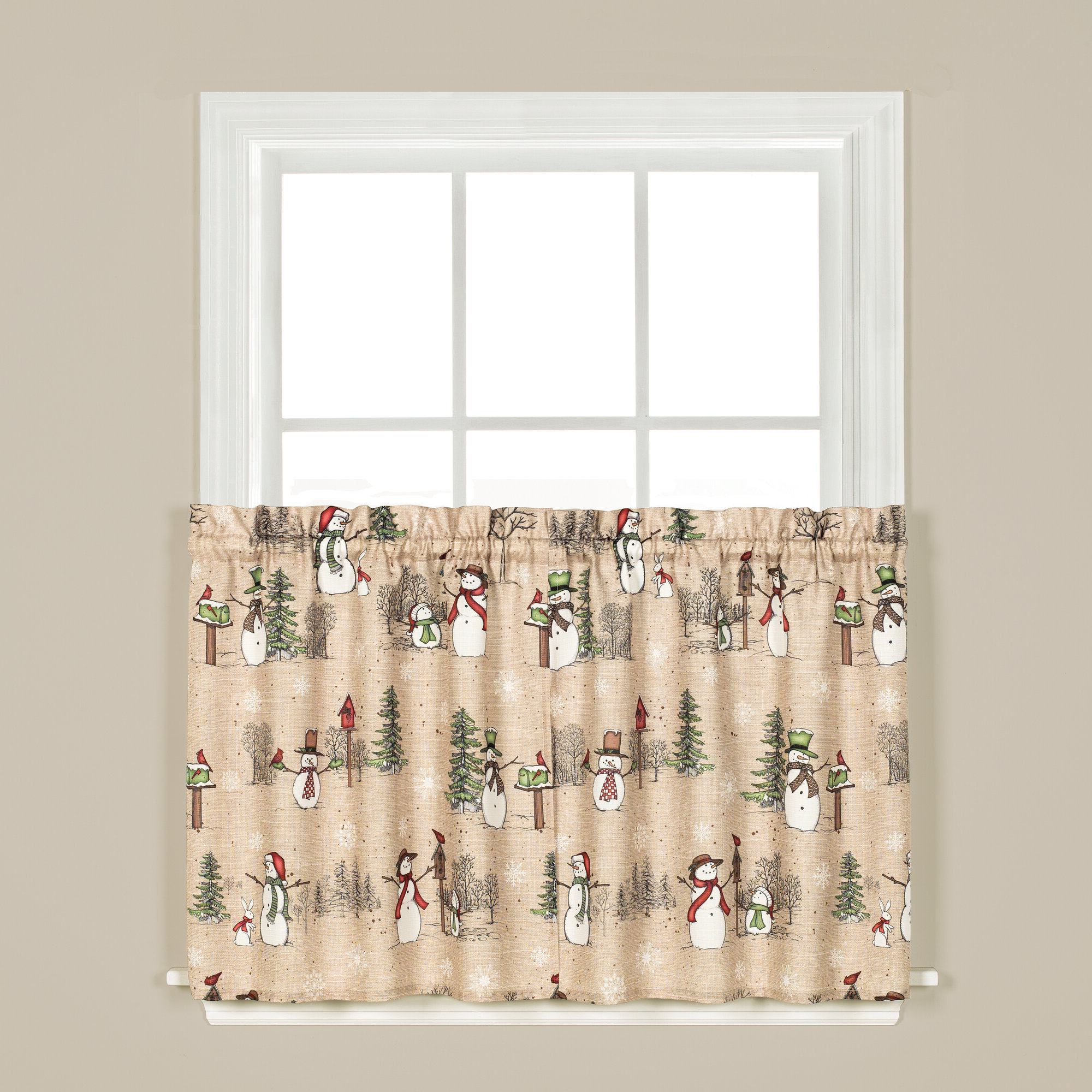 Most Recent Dexter 24 Inch Tier Pairs In Green Intended For Details About The Holiday Aisle Brenna Snowman Tier Pair Cafe Curtain (View 15 of 20)