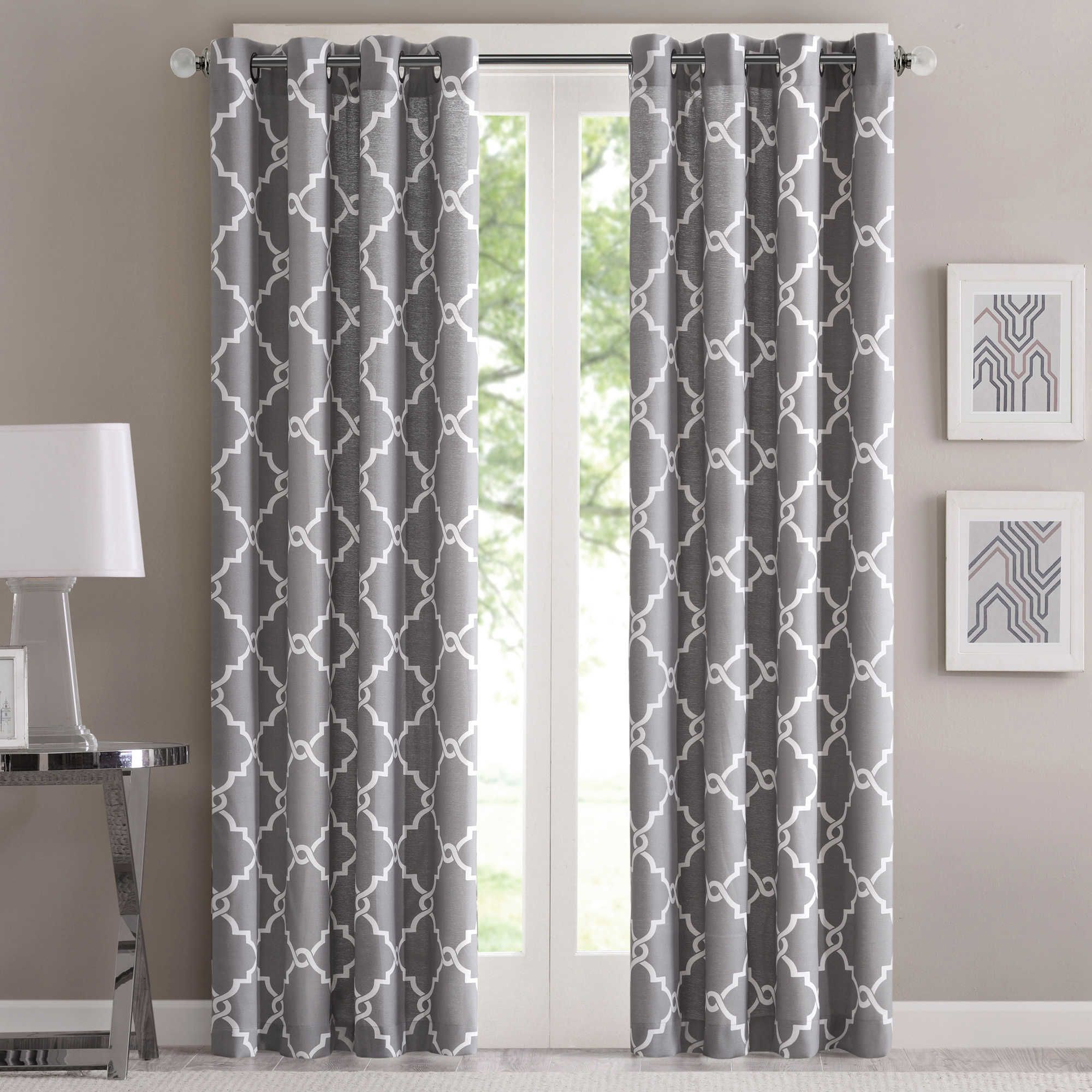 Most Recent Fretwork 95 Inch Window Curtain Panel In Grey (View 13 of 20)