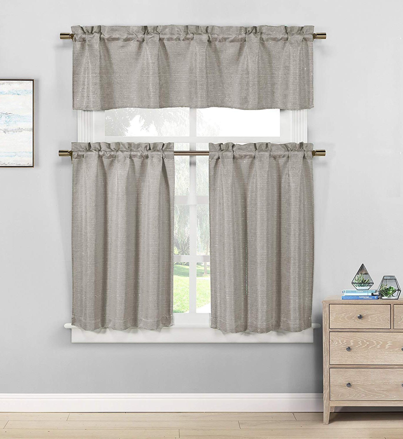Most Recent Grey Window Curtain Tier And Valance Sets Inside Kensie Jane Linen Textured Sequin Jacquard Kitchen Tier & Valance Set (Gallery 3 of 20)