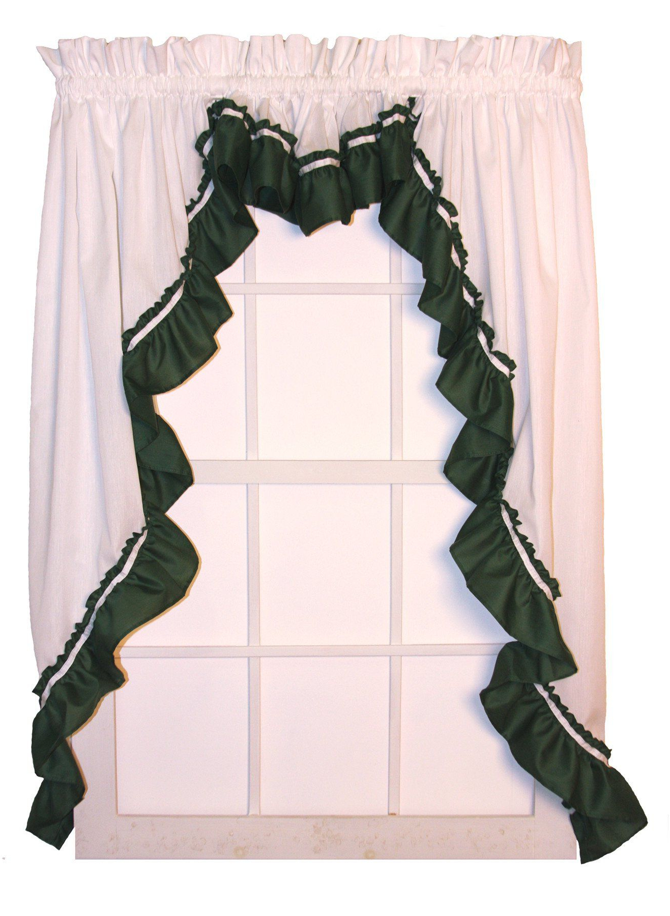 Most Recent Lynn 3 Piece White Ruffled Swags & Filler Valance Window In Spring Daisy Tiered Curtain 3 Piece Sets (View 12 of 20)