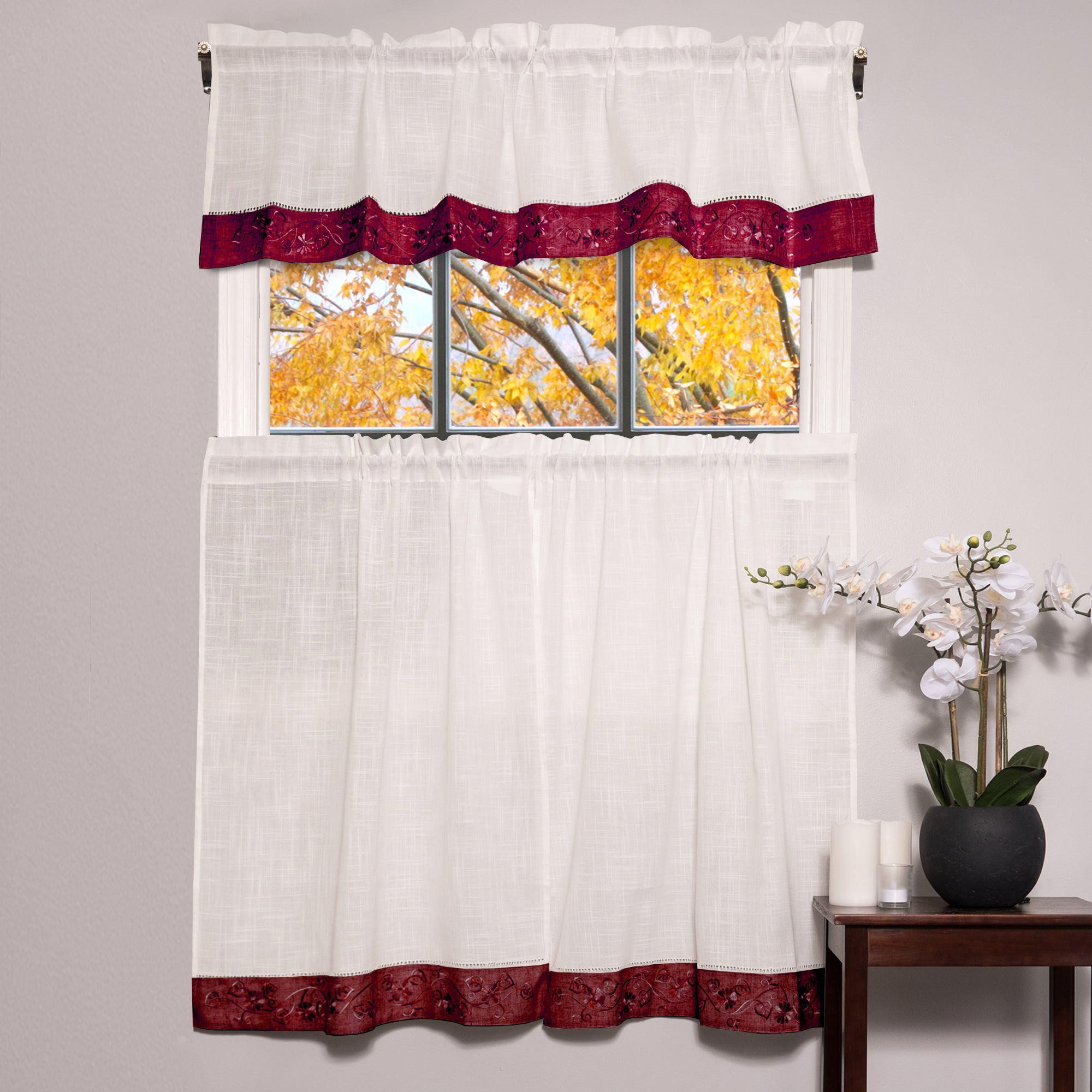 Featured Photo of Oakwood Linen Style Decorative Curtain Tier Sets