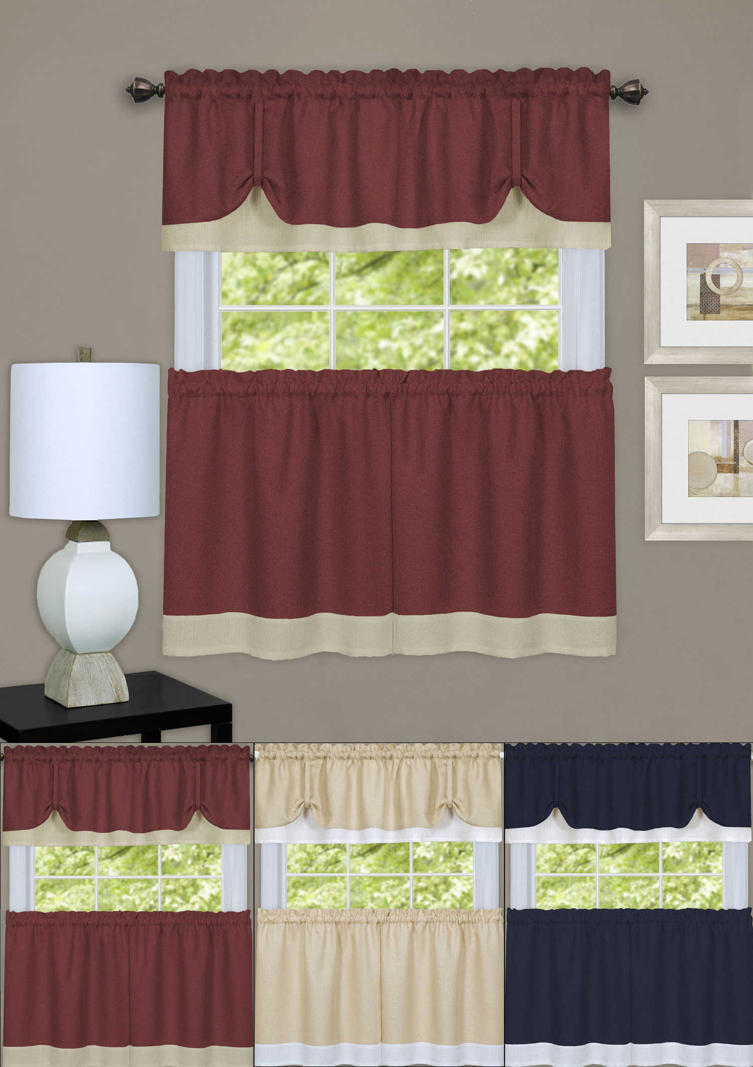 Most Recent Pintuck Kitchen Window Tiers Within Details About Darcy Tier Pair & Tie Up Valance Kitchen Window Curtain  Cottage Set (Gallery 16 of 20)