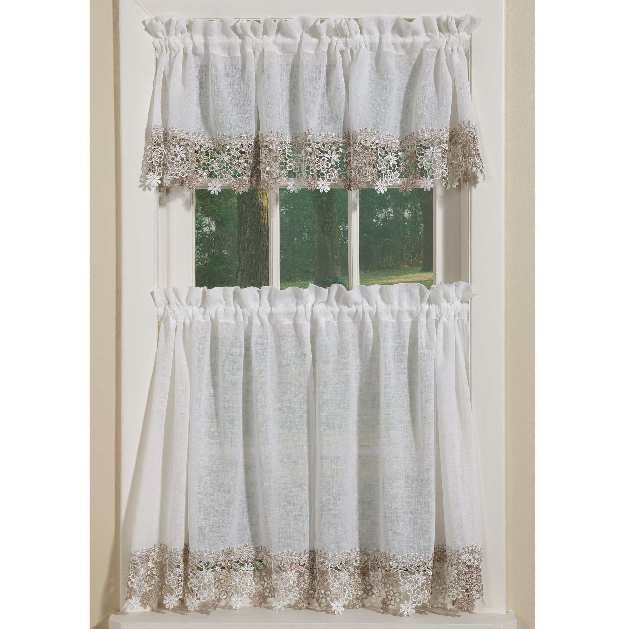 Most Recent Remarkable Lace Curtain Valances And Tiers Kitchen Curtains Pertaining To Sheer Lace Elongated Kitchen Curtain Tier Pairs (View 7 of 20)