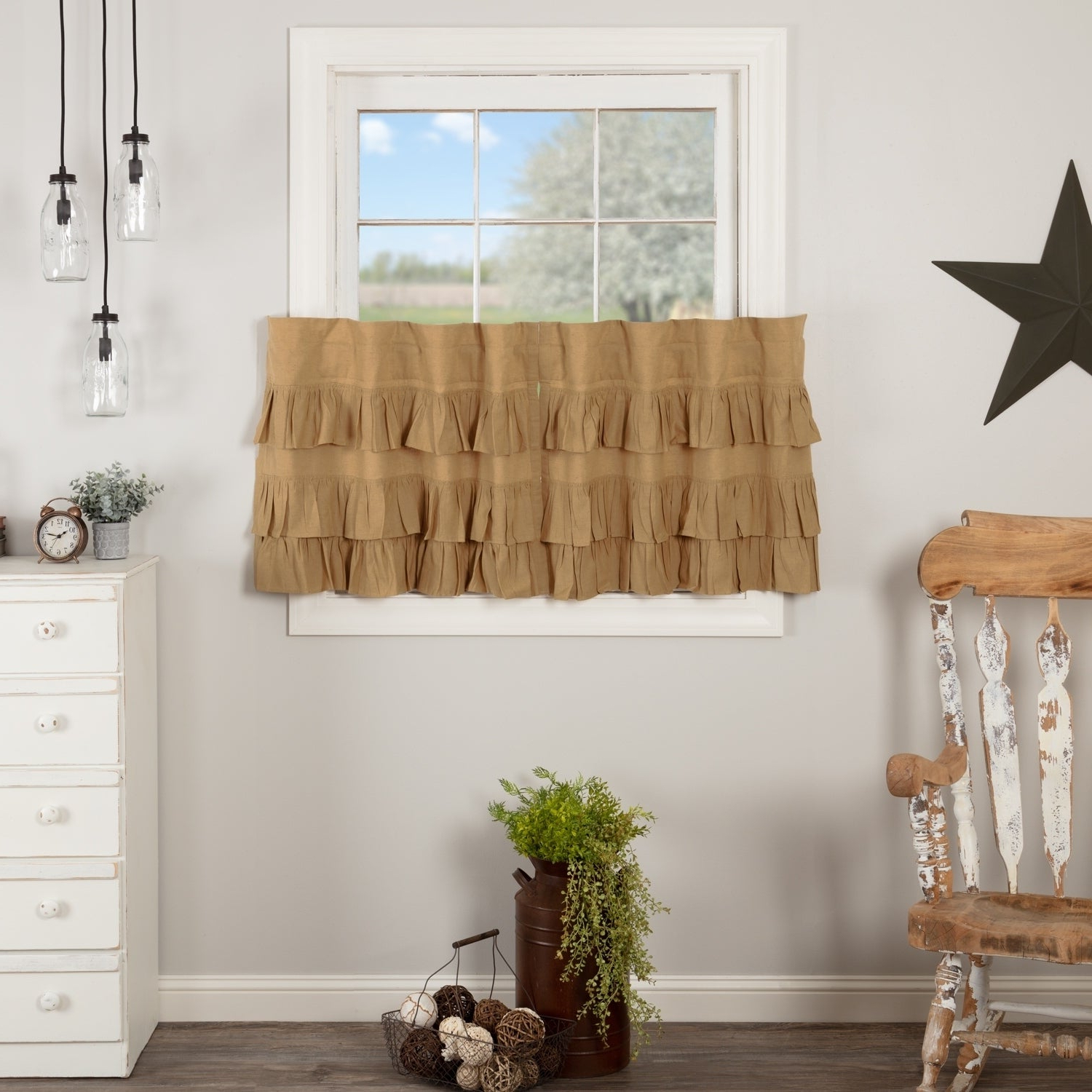 Most Recent Rod Pocket Cotton Linen Blend Solid Color Flax Kitchen Curtains Regarding Farmhouse Kitchen Curtains Vhc Simple Life Flax Tier Pair Rod Pocket Cotton  Linen Blend Solid Color Flax (Gallery 4 of 20)