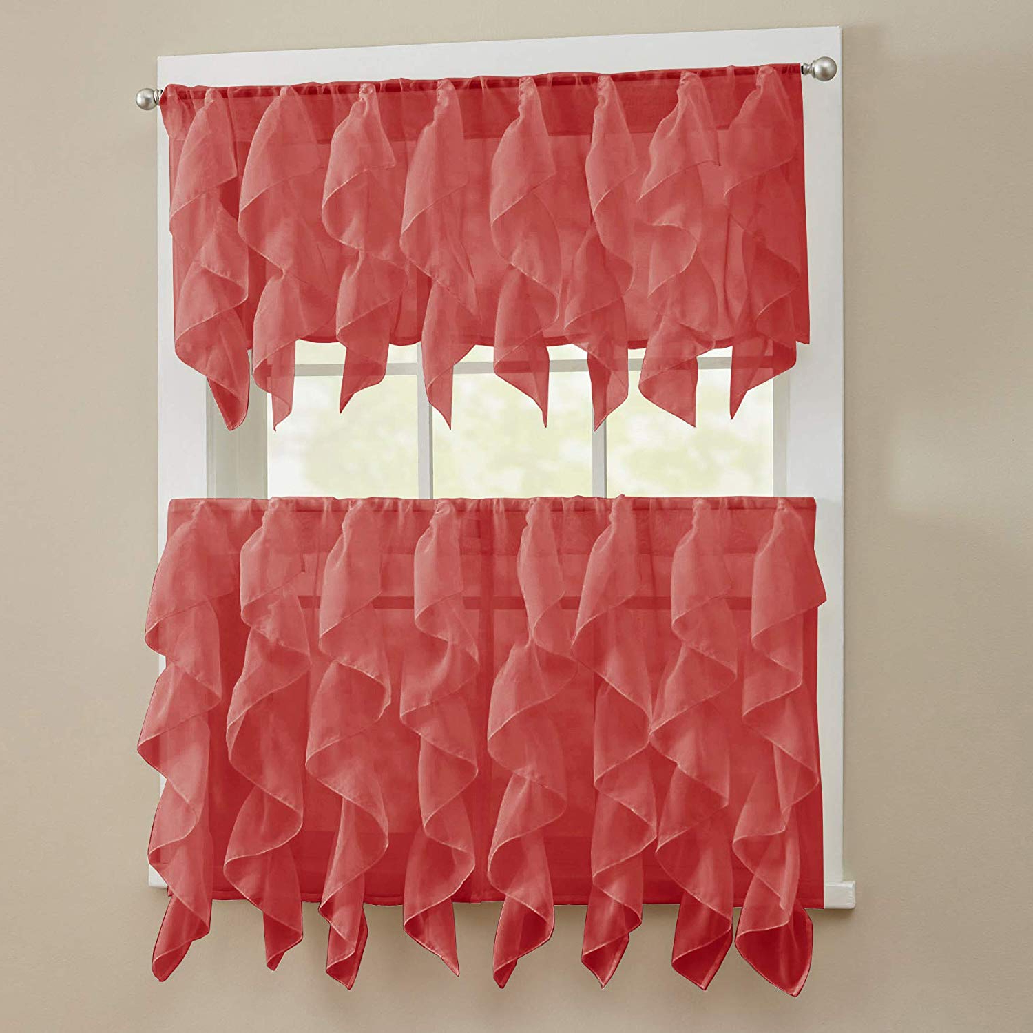 "Most Recent Silver Vertical Ruffled Waterfall Valance And Curtain Tiers Intended For Sweet Home Collection 3 Piece Kitchen Curtain Set Sheet Vertical Cascading Waterfall Ruffle Includes Valance & Choice Of 24"" Or 36"" Teir Pair, Tier, (View 11 of 20)"