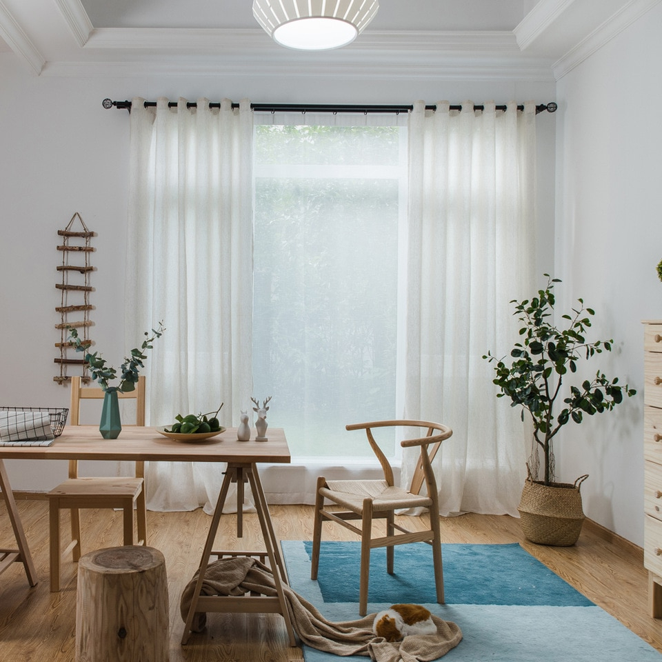 Most Recent Single Panels Solid Linen Curtains Tulle Living Room Decoration American  Style Rustic Kitchen Curtains Sheers With Rustic Kitchen Curtains (Gallery 12 of 20)