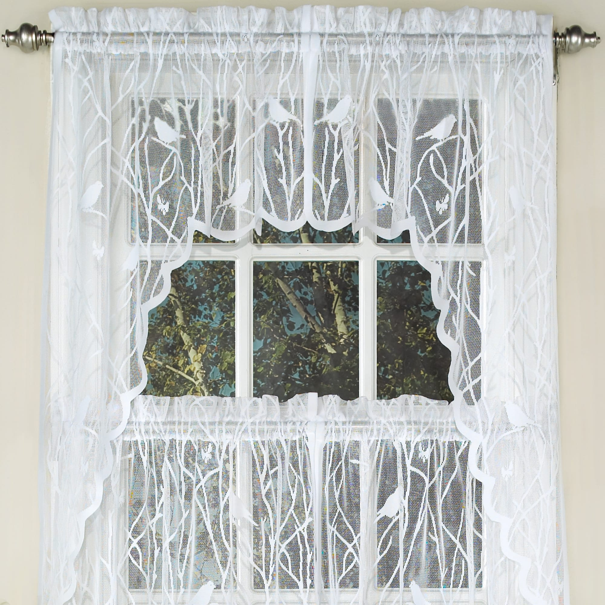 Most Recent Sweet Home Collection White Polyester Knit Lace Bird Motif With White Knit Lace Bird Motif Window Curtain Tiers (View 8 of 20)