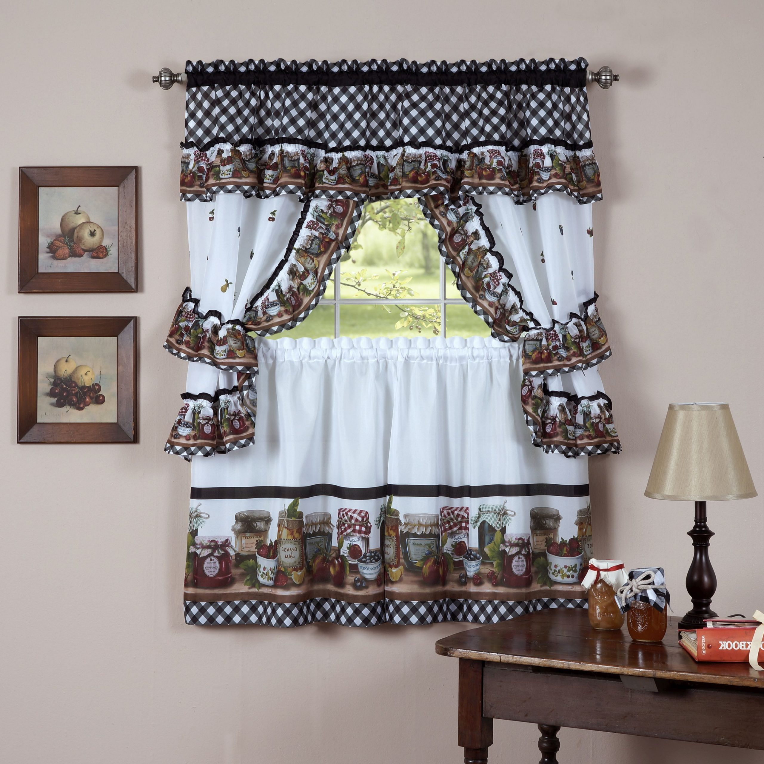Most Recent Traditional Two Piece Tailored Tier And Swag Window Curtains Sets With Ornate Rooster Print With Regard To Achim Mason Jars Tailored Topper With Valance (View 8 of 20)