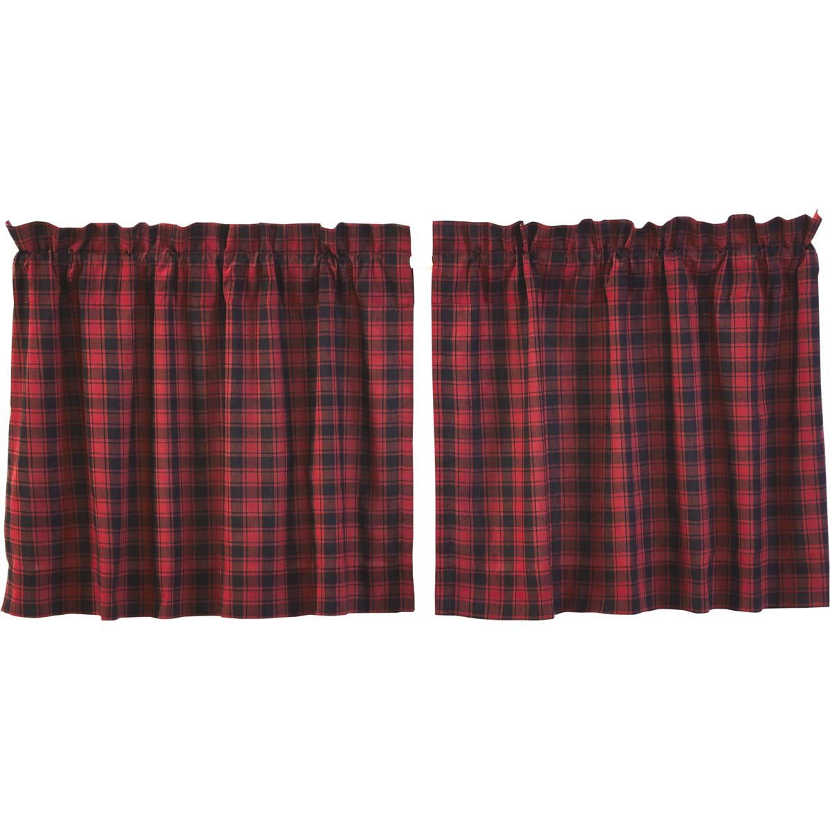 Most Recent Vhc Brands Rustic & Lodge Kitchen Window Curtains – Cumberland Red Tier Pair L36 X W36, Chili Pepper For Cumberland Tier Pair Rod Pocket Cotton Buffalo Check Kitchen Curtains (View 14 of 20)