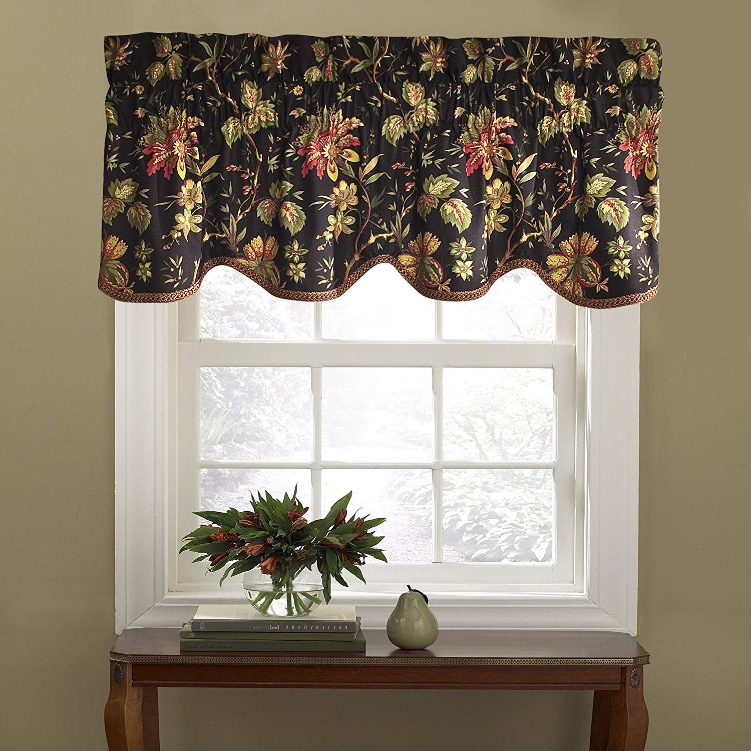 "Most Recent Waverly Valances For Windows – Felicite 50"" X 15"" Short Curtain Valance Small Window Curtains Bathroom, Living Room And Kitchens, Noir In Waverly Felicite Curtain Tiers (View 3 of 20)"
