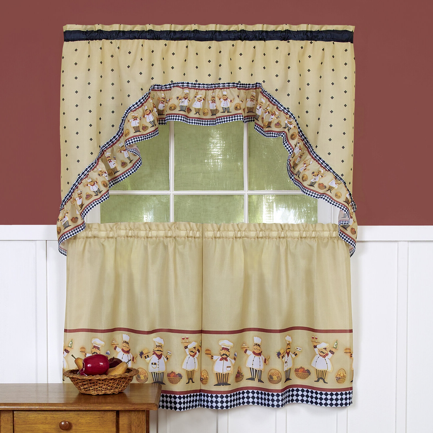Most Recent Window Curtains Sets With Colorful Marketplace Vegetable And Sunflower Print For Cucina Swag Tier Kitchen Curtain (Gallery 11 of 20)
