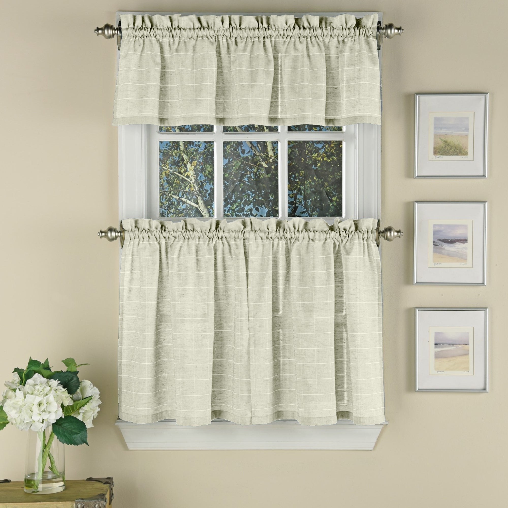 Most Recent Woven Window Pane Pattern Beige Curtain Pieces In White Tone On Tone Raised Microcheck Semisheer Window Curtain Pieces (Gallery 19 of 20)