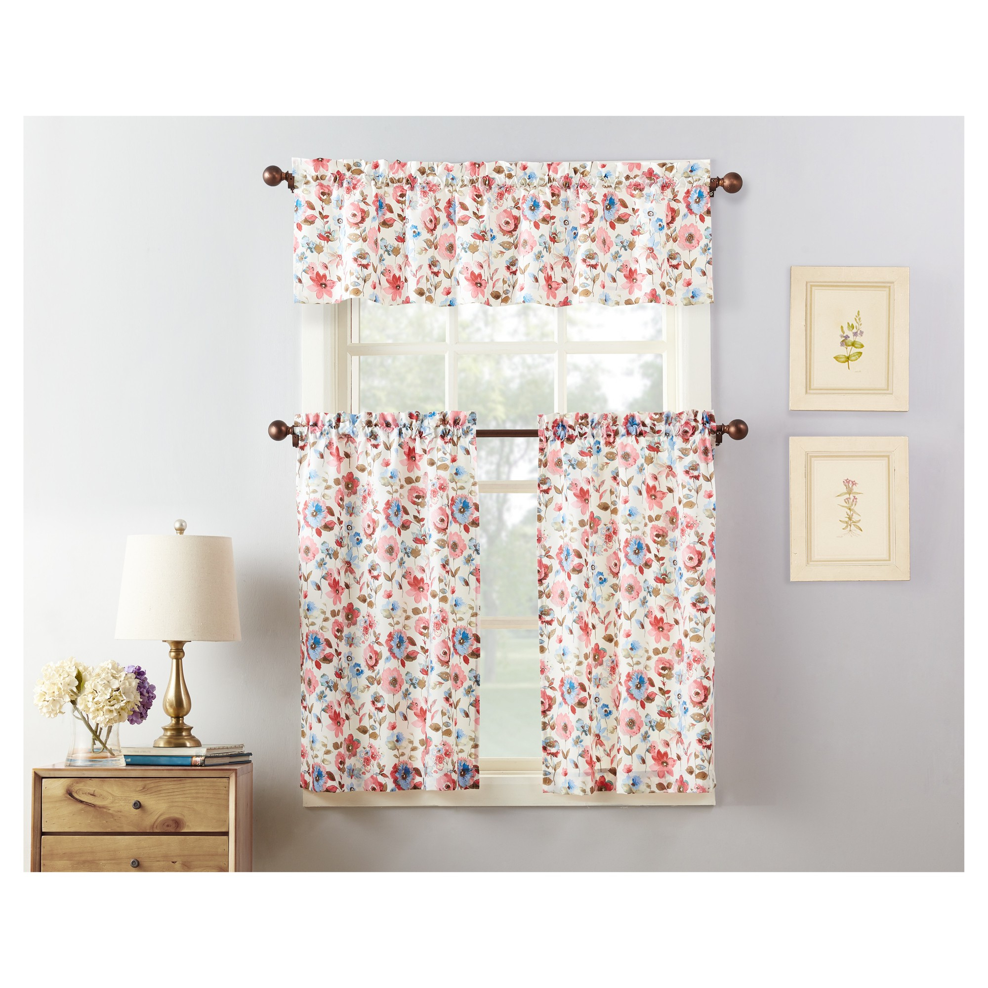 "Most Recently Released 36""x27"" Dora Floral Print Microfiber 3Pc Kitchen Curtain Within Floral Watercolor Semi Sheer Rod Pocket Kitchen Curtain Valance And Tiers Sets (Gallery 13 of 20)"