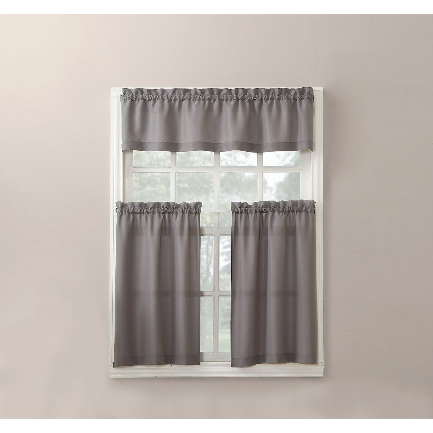 Most Recently Released Bermuda Ruffle Kitchen Curtain Tier Sets Regarding No. 918 Martine Solid Microfiber 3 Piece Kitchen Curtain Valance And Tiers  Set (Gallery 12 of 20)