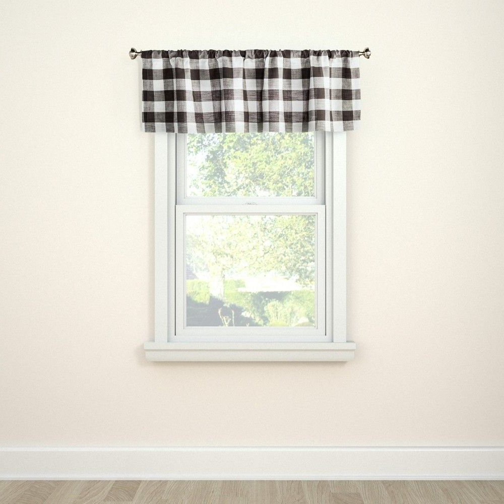 """Most Recently Released Burgundy Cotton Blend Classic Checkered Decorative Window Curtains Regarding Window Valance Small Check Gray 54"""" X 15"""" – Threshold , Hot (View 20 of 20)"""