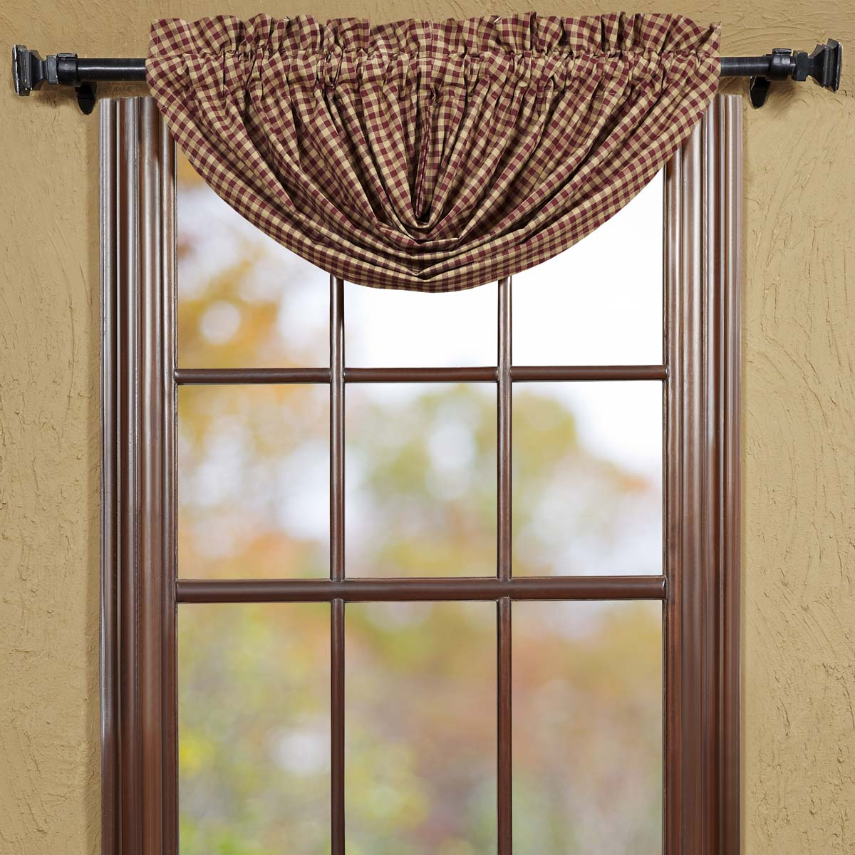 Most Recently Released Burgundy Red Primitive Kitchen Curtains Burgundy Check Rod Pocket Cotton Check Balloon Valance Within Primitive Kitchen Curtains (View 16 of 20)