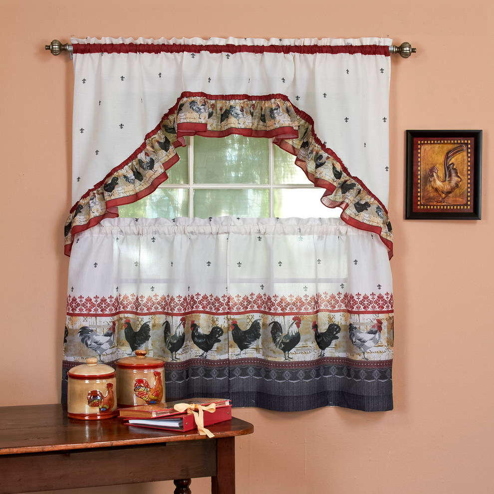 "Most Recently Released Chardonnay Tier And Swag Kitchen Curtain Sets In Rooster, Printed Tier And Swag Window Curtain Set, 57""x36"", Burgundy (View 14 of 20)"