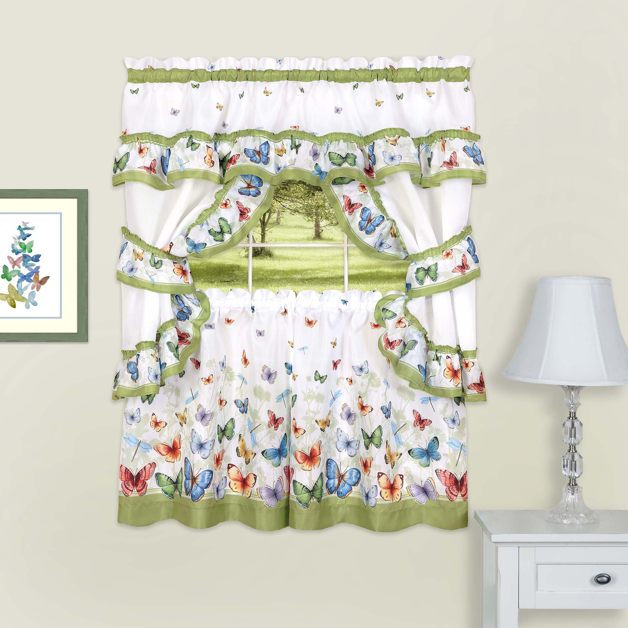 Most Recently Released Chateau Wines Cottage Kitchen Curtain Tier And Valance Sets Inside Details About 5C Window Kitchen Curtain Cottage Set, Butterflies, Tiers,  Valance, Tiebacks (Gallery 14 of 20)