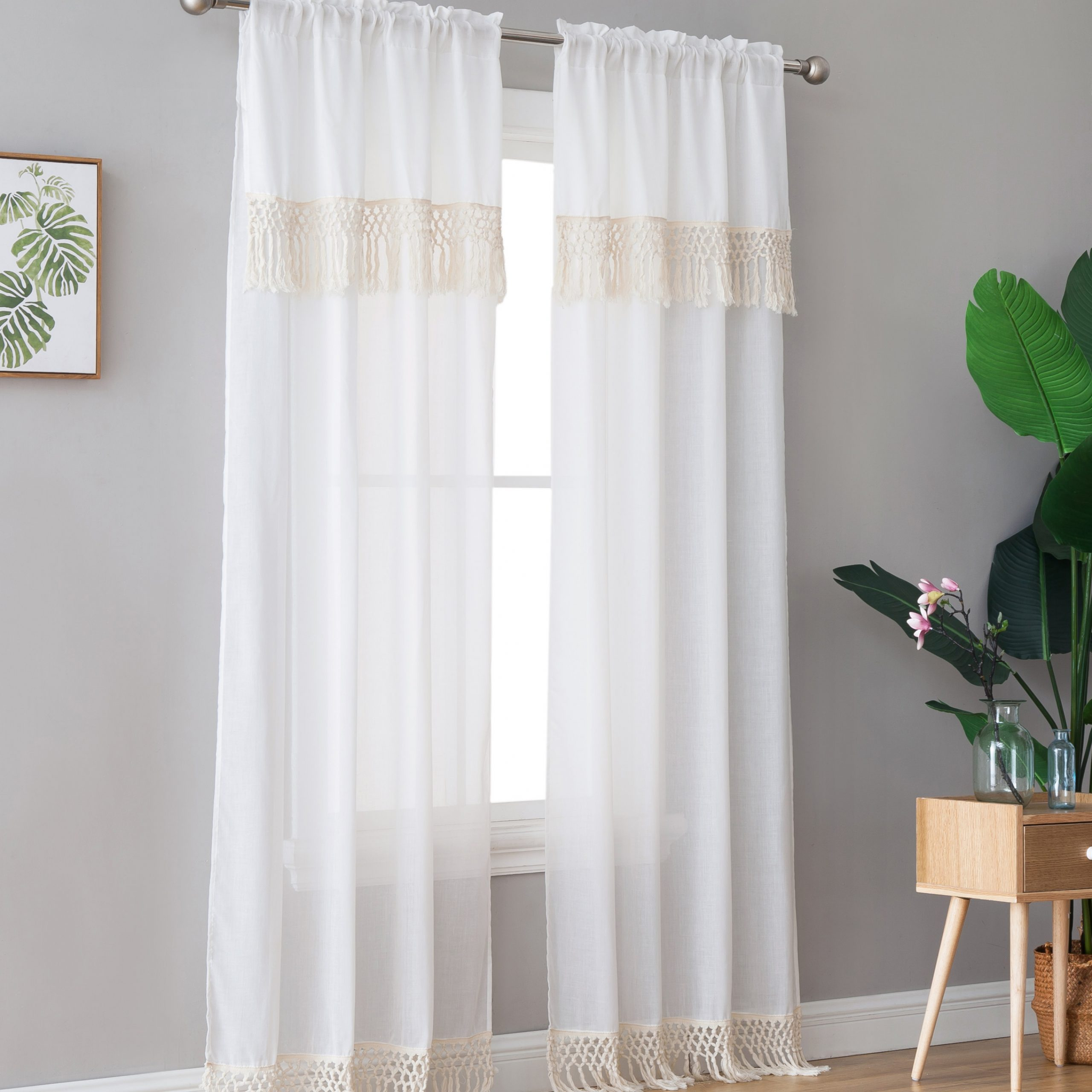 "Most Recently Released Class Blue Cotton Blend Macrame Trimmed Decorative Window Curtains Intended For Peach & Oak, Lydia Single Window Panel – Blue With Fringe – 84"" (Gallery 13 of 17)"